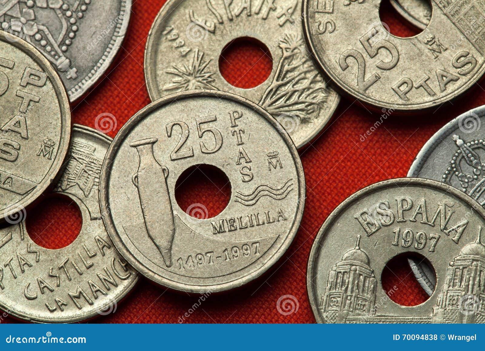 Münzen Von Spanien Phönizische Amphore Melilla Stockfoto Bild Von
