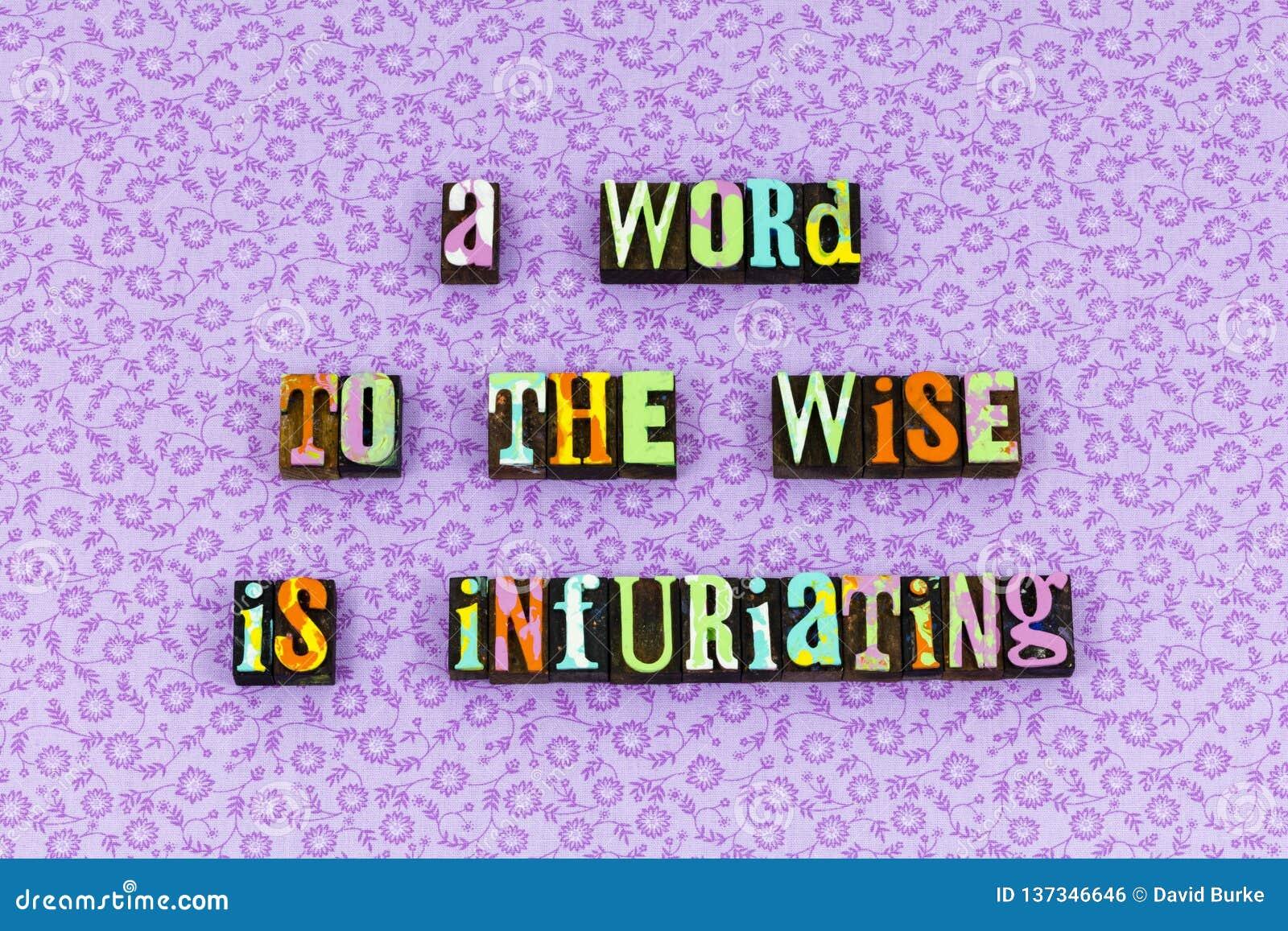 Mądra mądrości rady postawa słucha letterpress