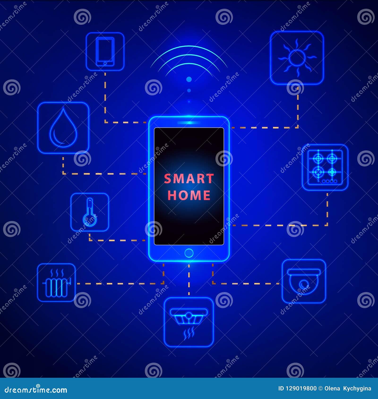 Mądrze domowy kontrolowany smartphone Internetowa technologia domowej automatyzaci system