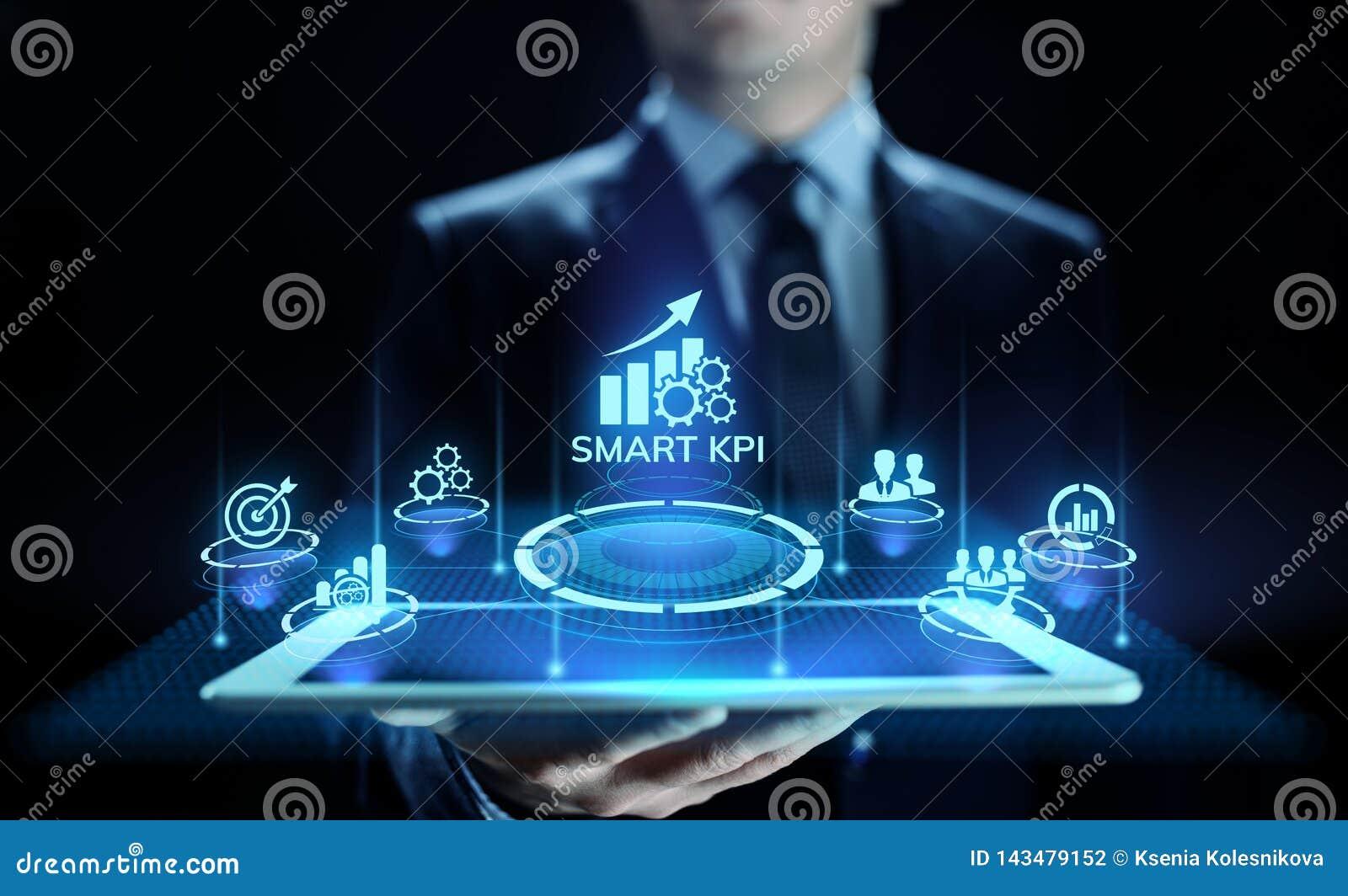 Mądrze KPI występu analizy ulepszenia technologii biznesowy przemysłowy pojęcie