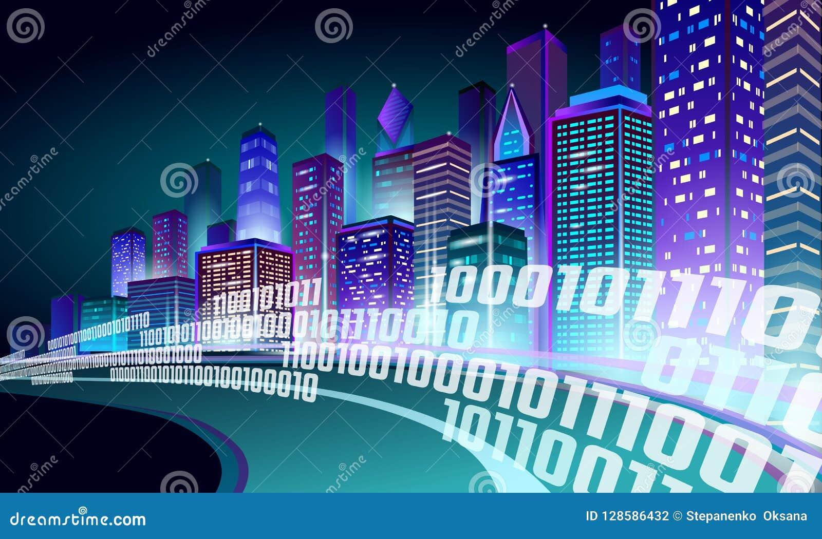 Mądrze miasta 3D neonowy rozjarzony pejzaż miejski Inteligentnej budynek autostrady trasy nocy futurystyczny biznesowy pojęcie Si