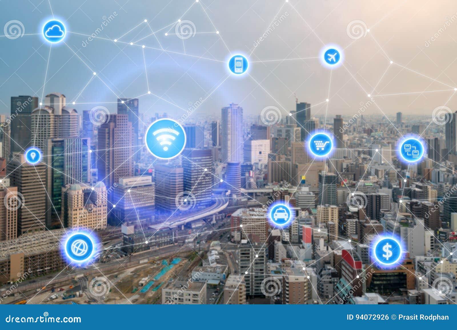 Mądrze miasta i radia sieć komunikacyjna, dzielnica biznesu