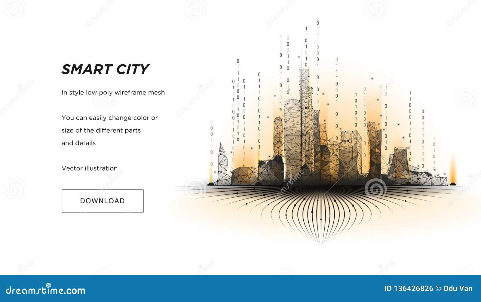 Mądrze miasta niski poli- wireframe Miasto techniki metropolia lub abstrakt cześć Inteligentny budynek automatyzaci systemu bizne