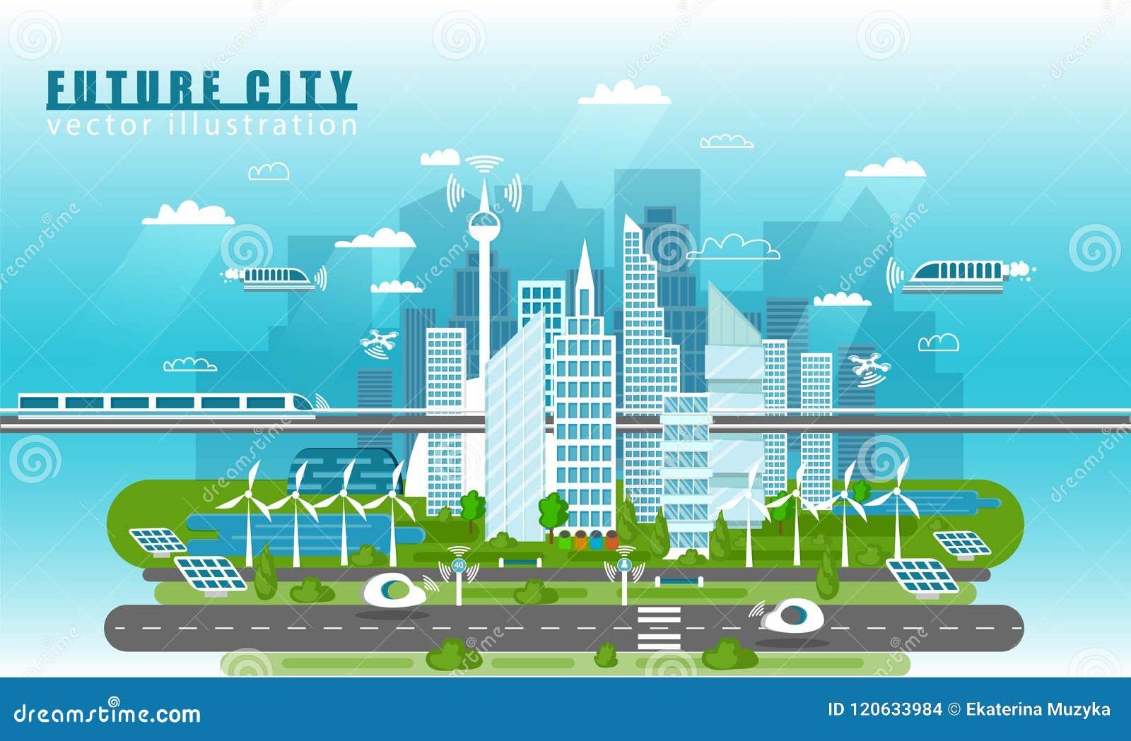 Mądrze miasto krajobraz przyszłościowa wektorowa pojęcie ilustracja w mieszkanie stylu Miasto miastowa linia horyzontu z nowożytn