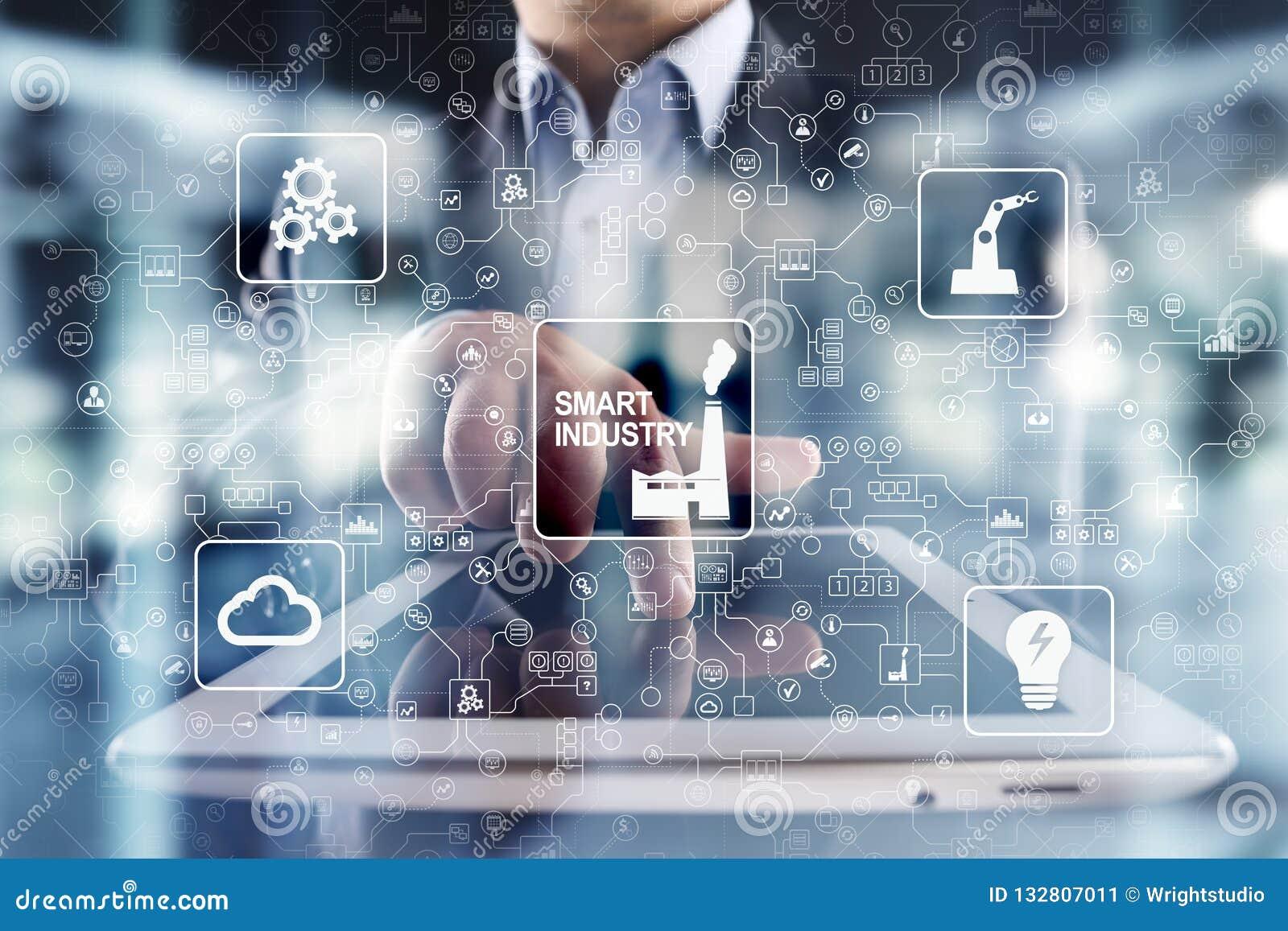 Mądrze przemysł Przemysłowa i technologia innowacja Modernizaci i automatyzaci pojęcie Internet IOT
