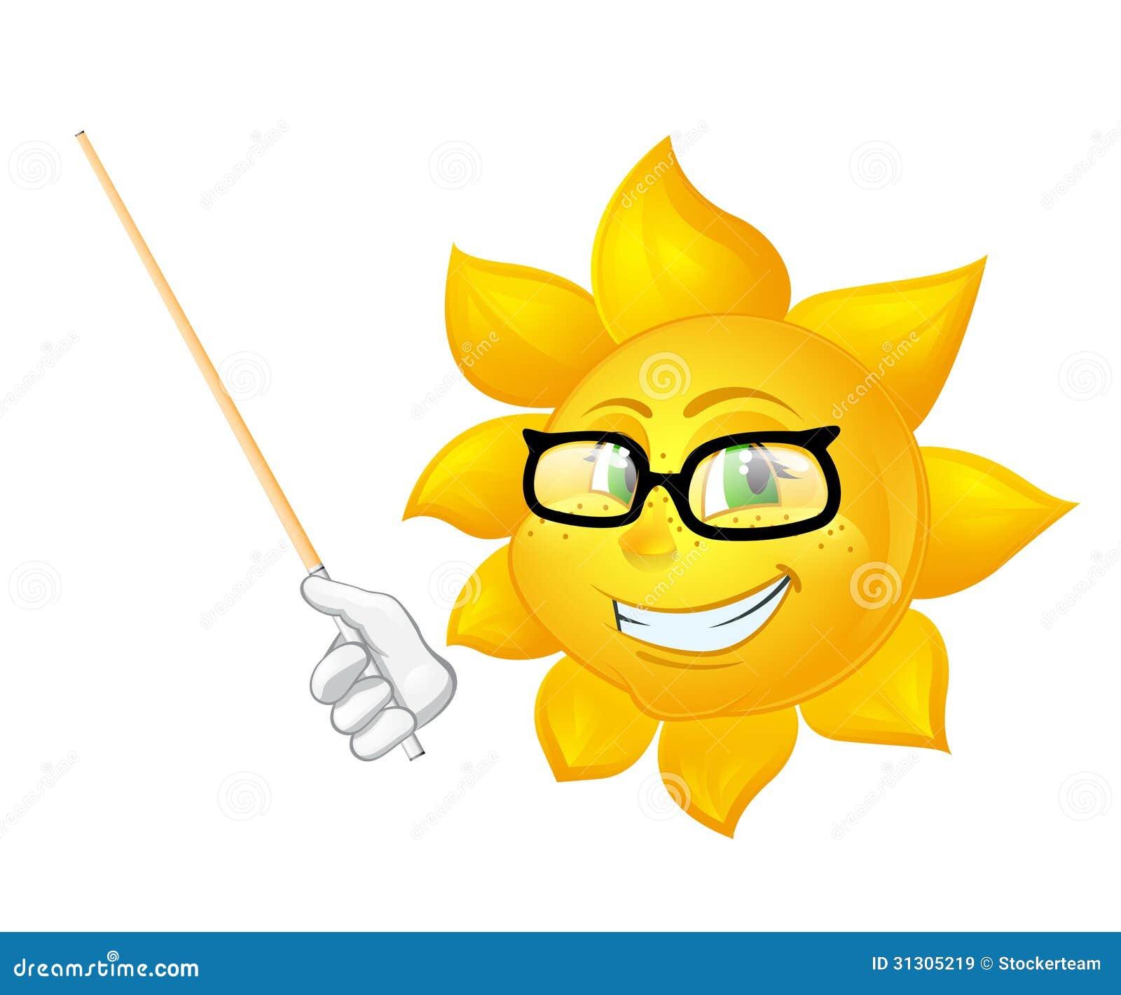 Mądrze słońce uczy odizolowywał na białym tle