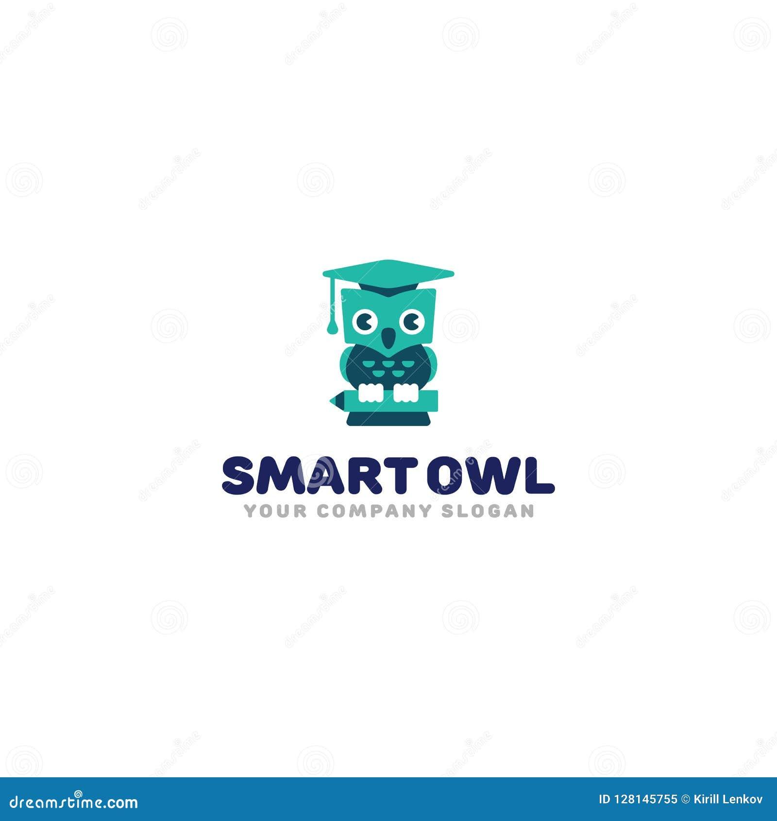 Mądrze sowa logo Śliczna kreskówki sowa w skalowanie kapeluszu Dzieciak nauki symbolu wektoru szablon