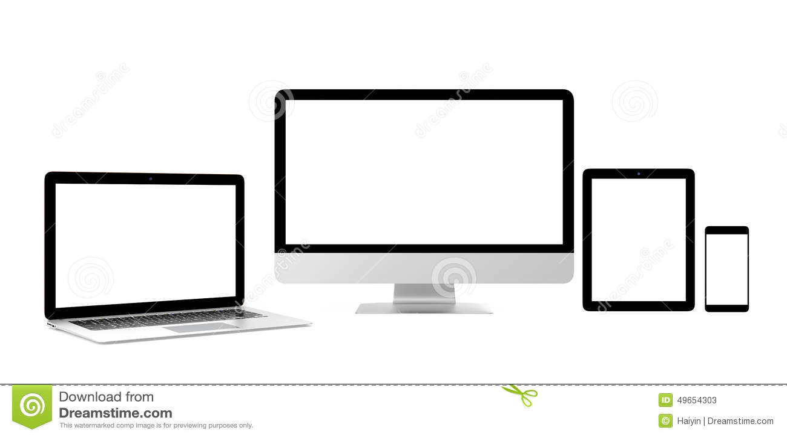 Mądrze telefon, laptop, komputer stacjonarny z pustym ekranem dla kopii przestrzeni