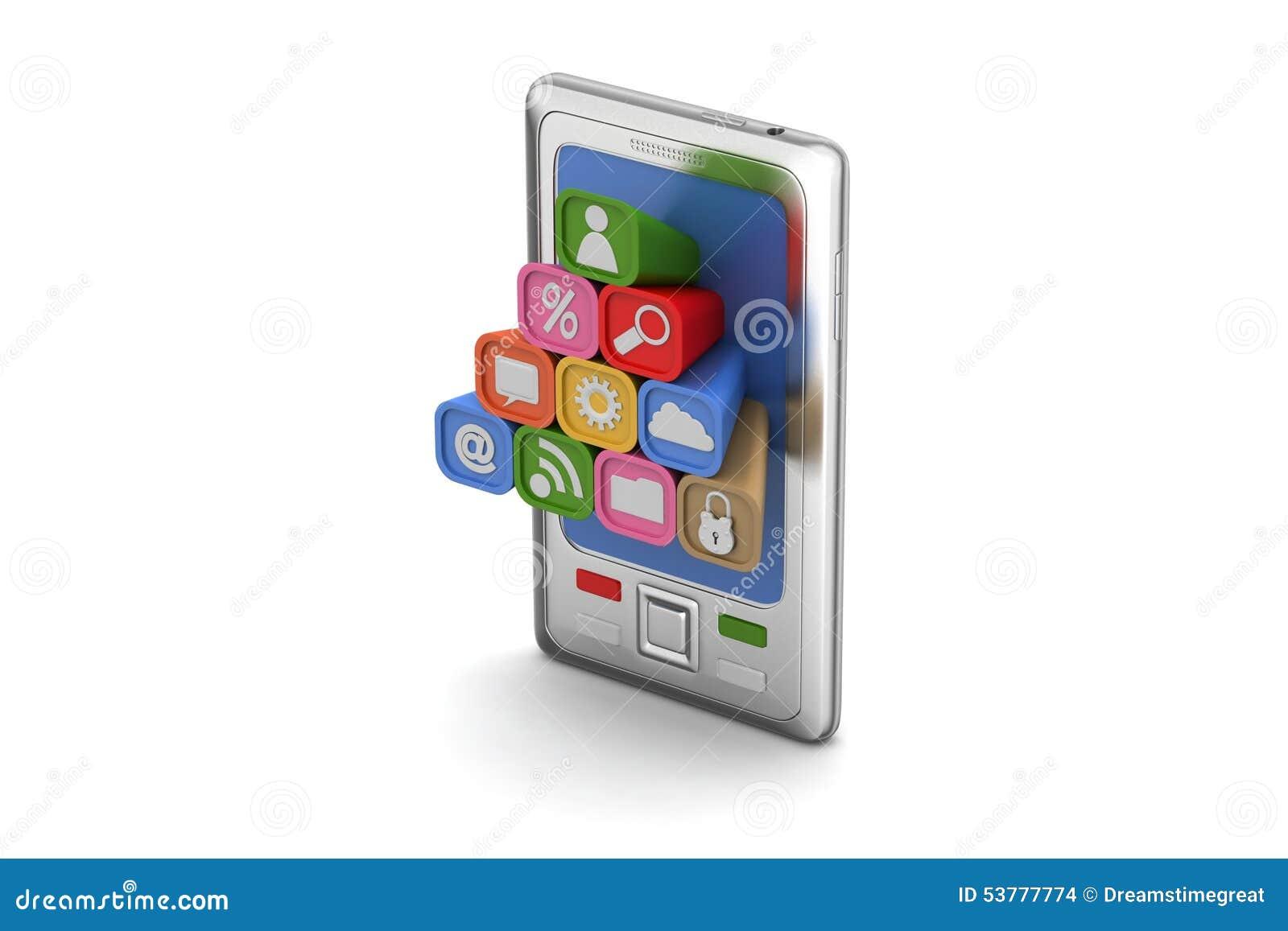 Mądrze telefon z podaniowymi ikonami