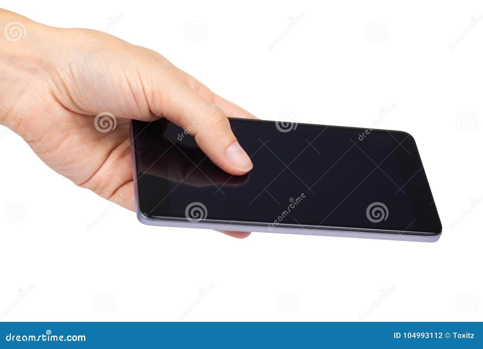 Mądrze telefon z pustym ekranem w ręce odizolowywającej na białym tle, duża wisząca ozdoba, czarny telefon komórkowy, 5 5 calowy