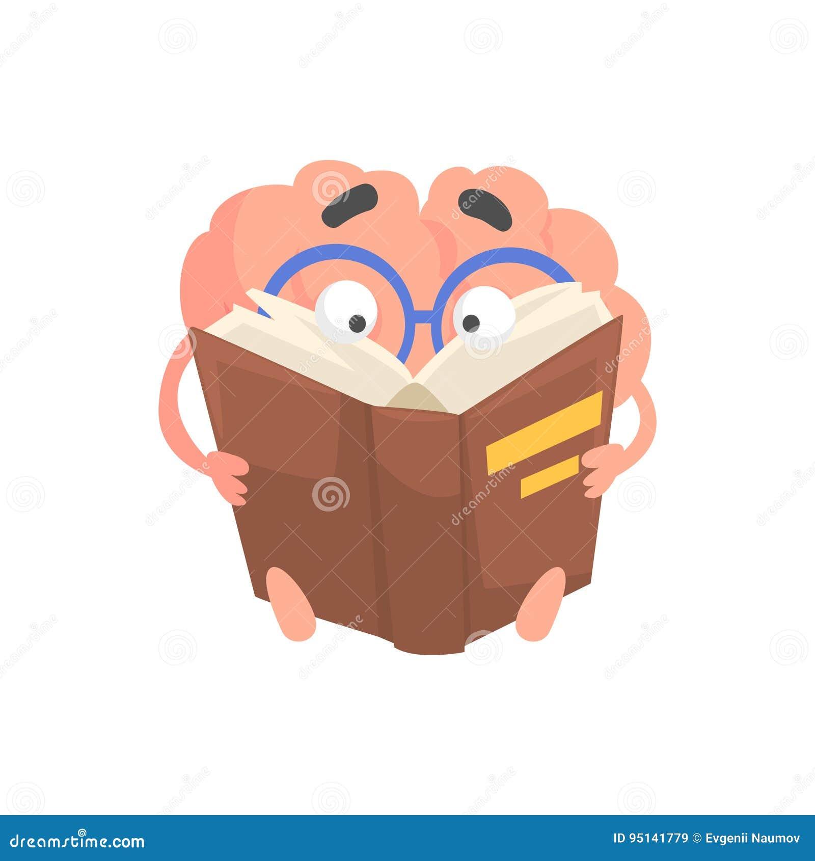 Mądrze zhumanizowanej kreskówki móżdżkowy charakter czyta książkę, intelekta ludzkiego organu wektoru ilustracja