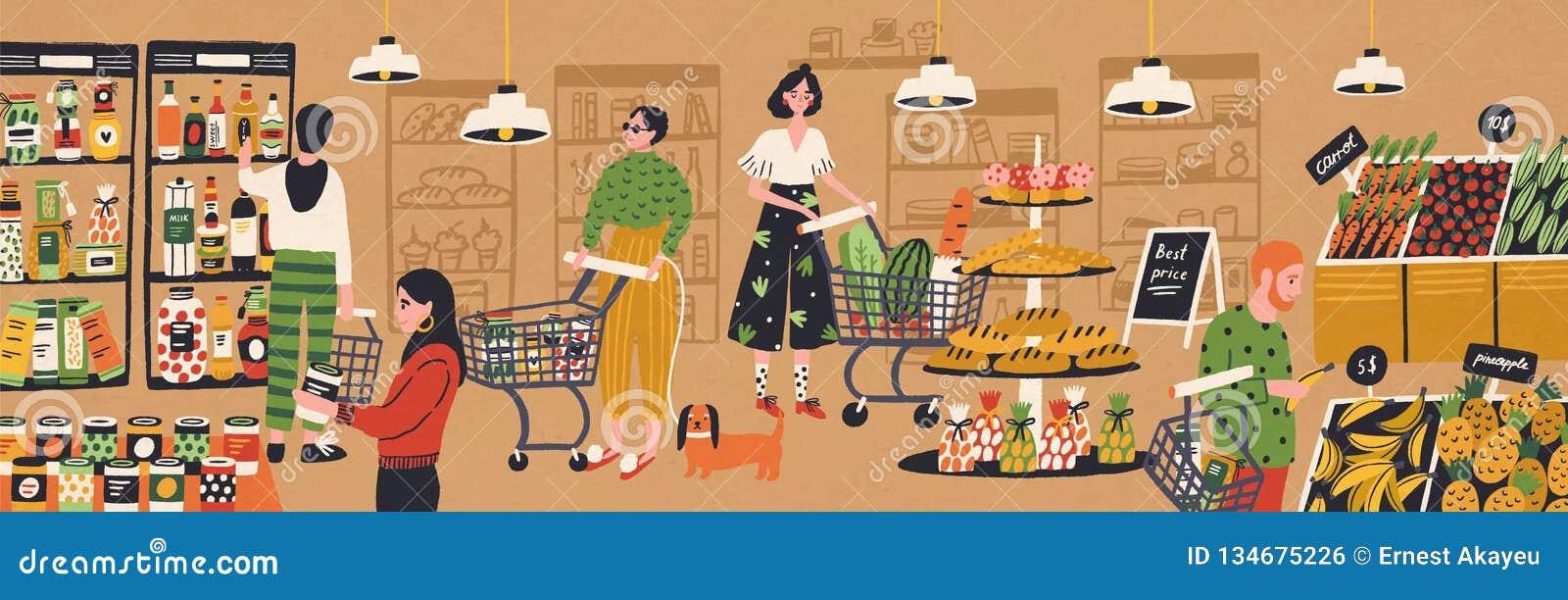 Mężczyźni, kobiety z i wózkami na zakupy i koszami Ludzie nabywa jedzenie przy