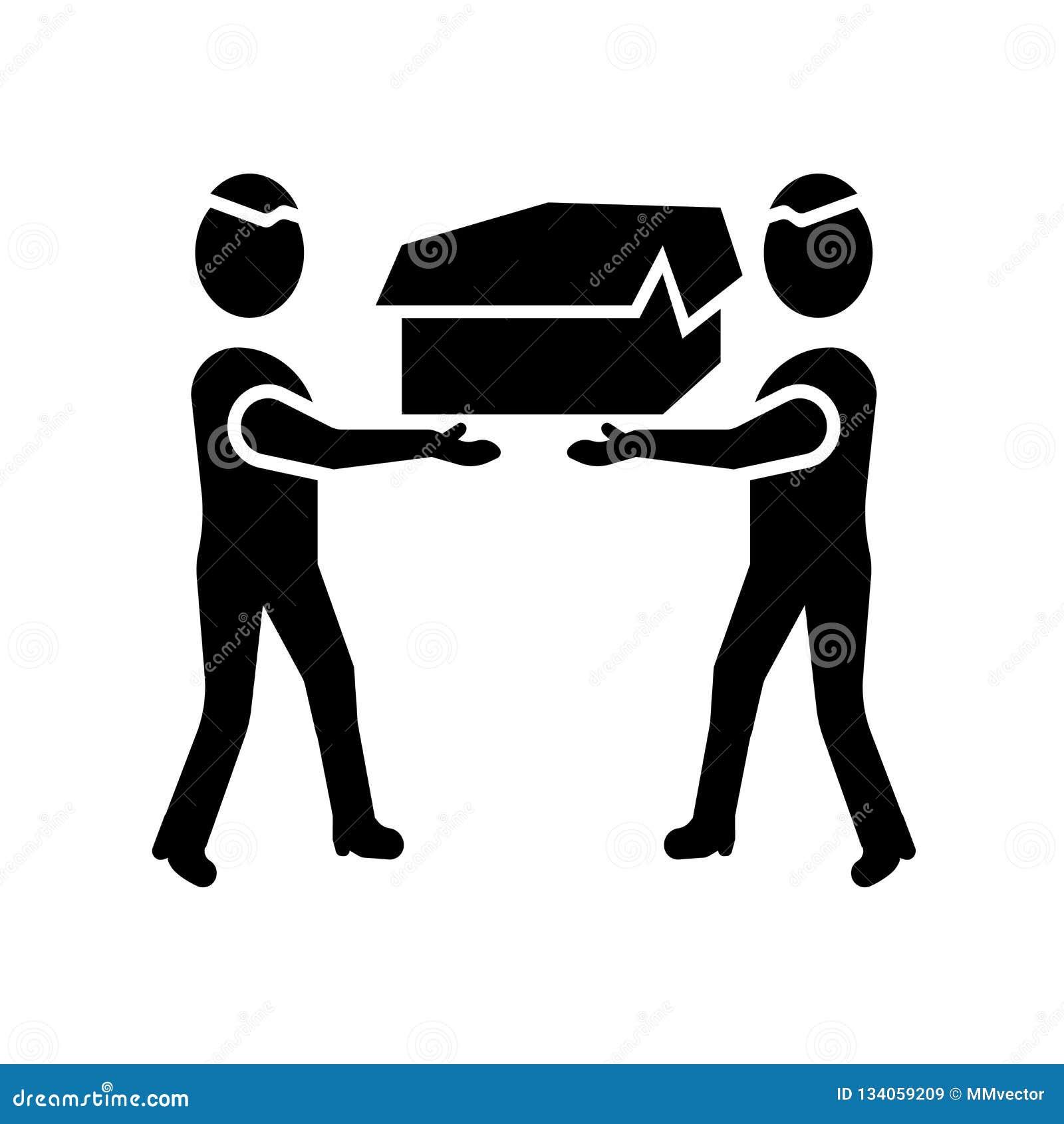 Mężczyźni niesie pudełkowatego ikona wektor odizolowywającego na białym tle, mężczyzn nieść boksują znaka