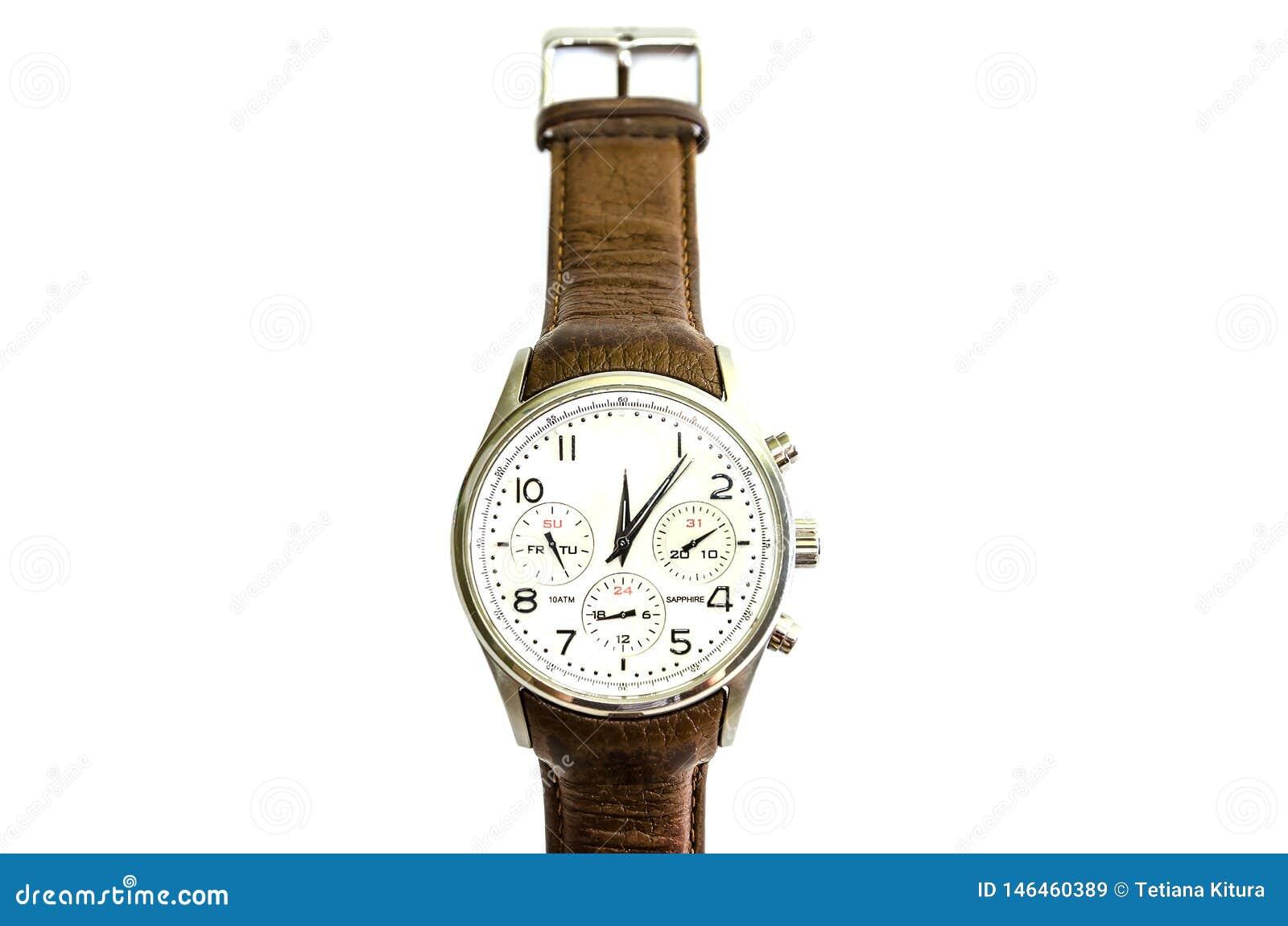 Mężczyźni, wristwatches z brąz patką, odizolowywającą na białym tle na widok