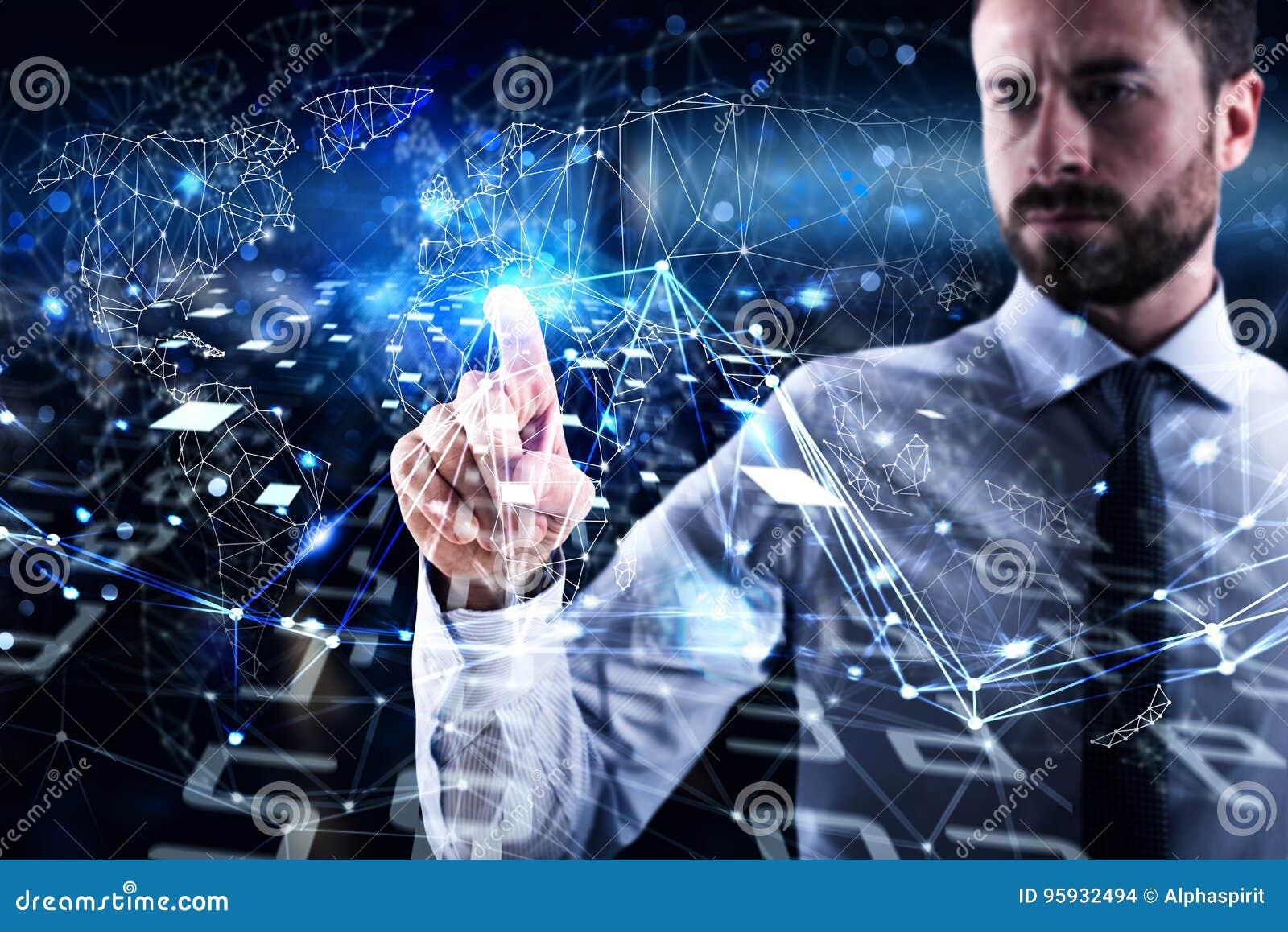 Mężczyzna łączy globalny świat Pojęcie interconnection, internet i sieć,
