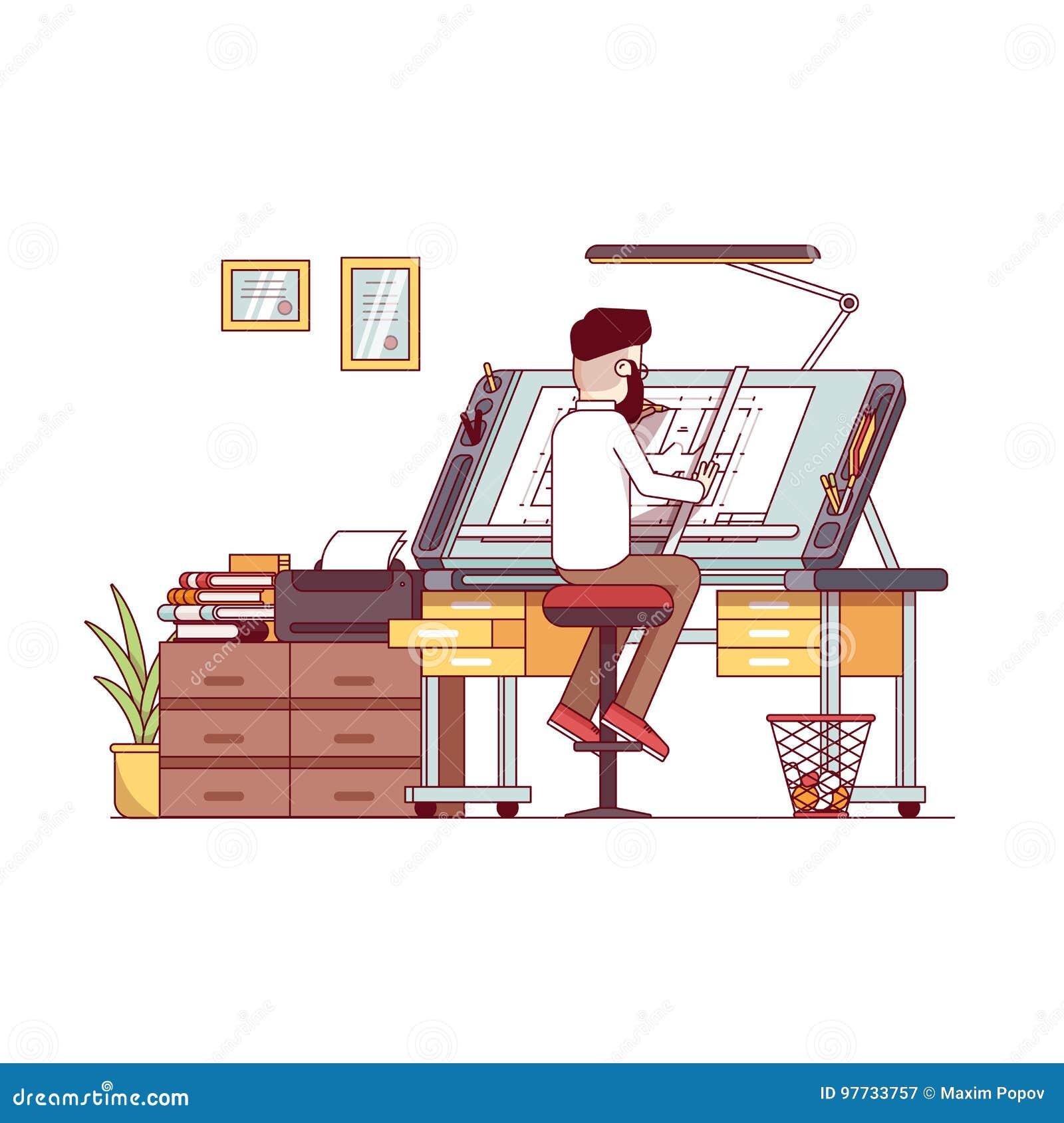 Mężczyzna architekta rysunku domu projekta podłogowy plan