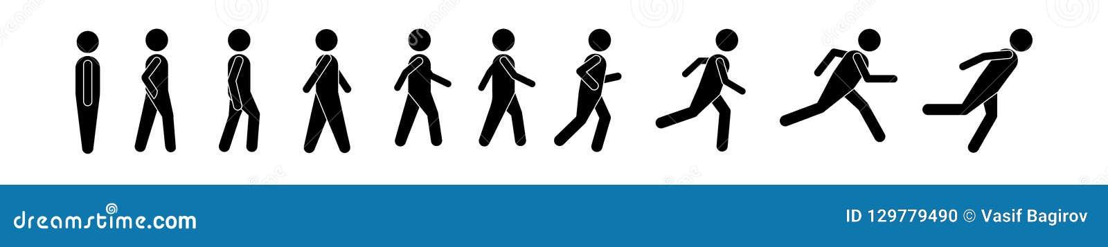 Mężczyzna bieg różnorodnej pozyci ludzie Postura kija postać Wektorowa ilustracja pozować osoby ikony symbolu znaka piktogram na