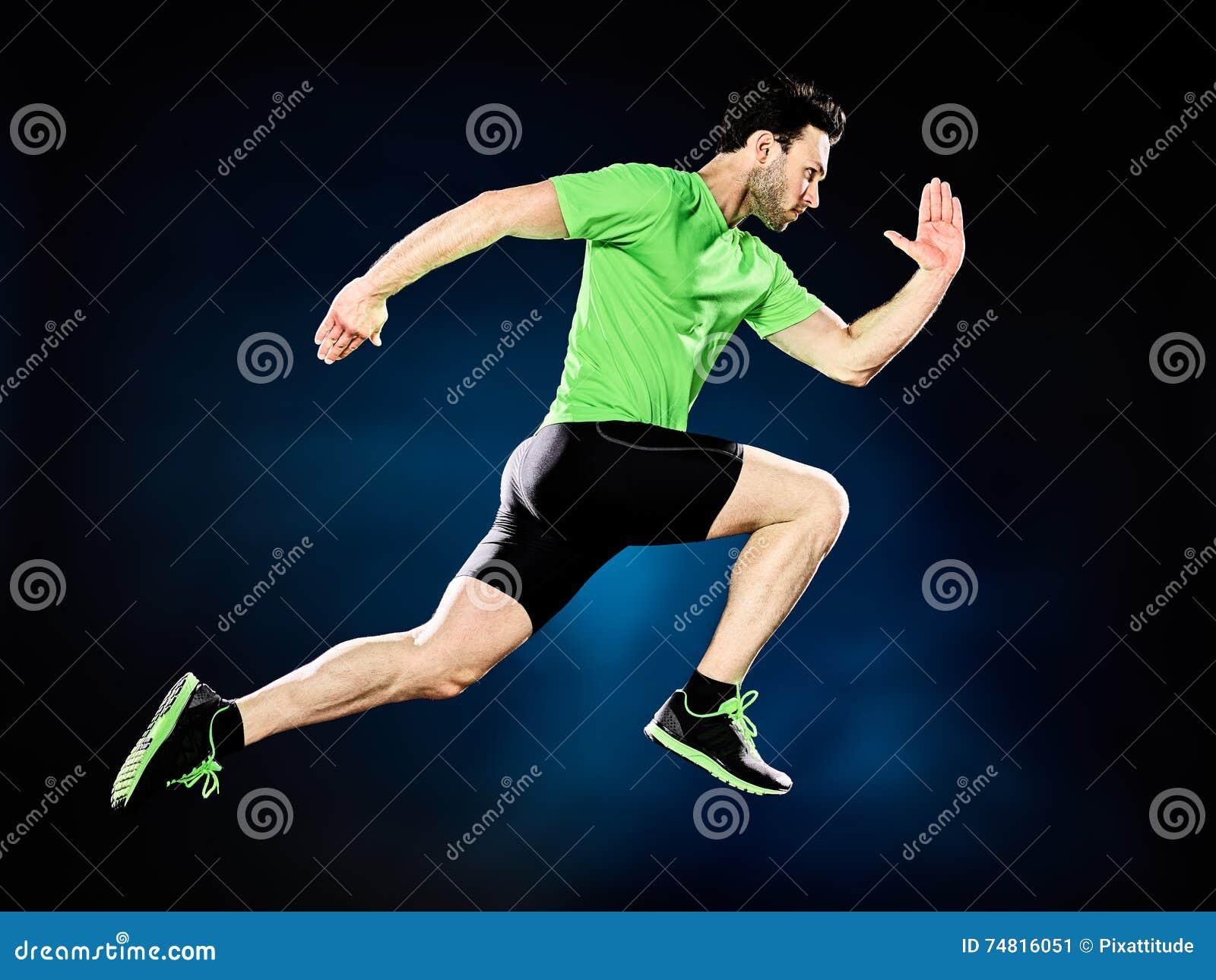 Mężczyzna biegacza jogger działający jogging odizolowywam