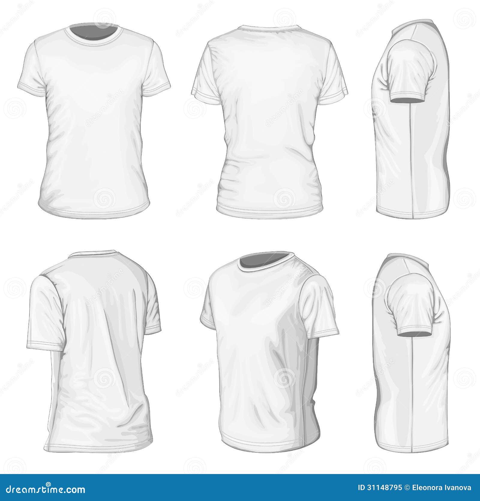Mężczyzna bielu skrótu rękawa koszulki projekta szablony