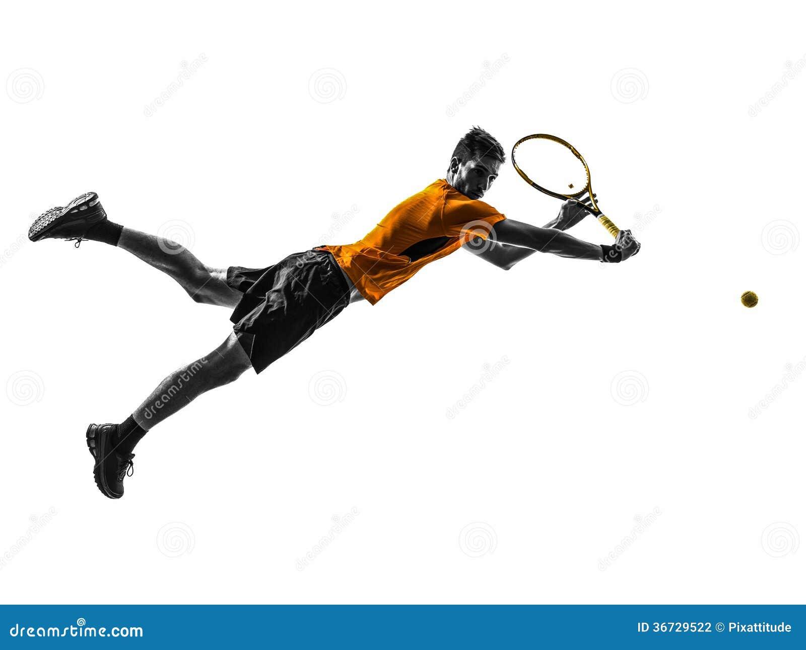 Mężczyzna gracz w tenisa sylwetka
