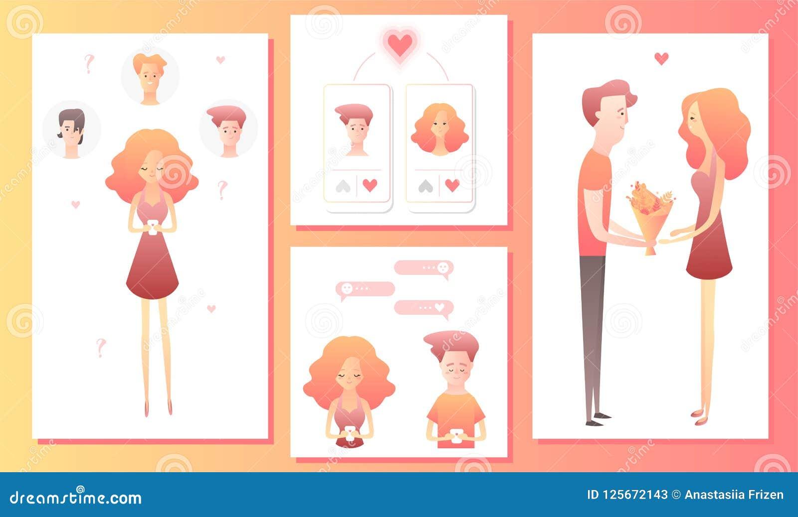 Mężczyzna i kobieta używa mobilnego zastosowanie dla datować romantycznego partnera na internecie lub szukać