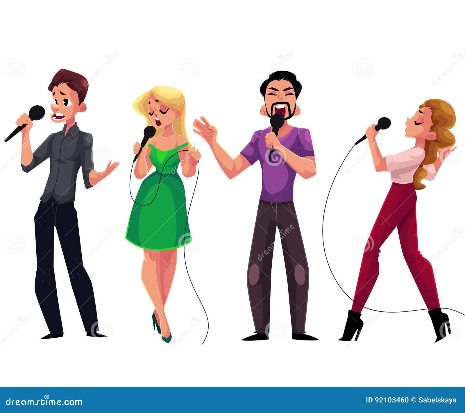 Mężczyzna i kobiety śpiewa karaoke, trzyma mikrofony - rywalizacja, przyjęcie, świętowanie