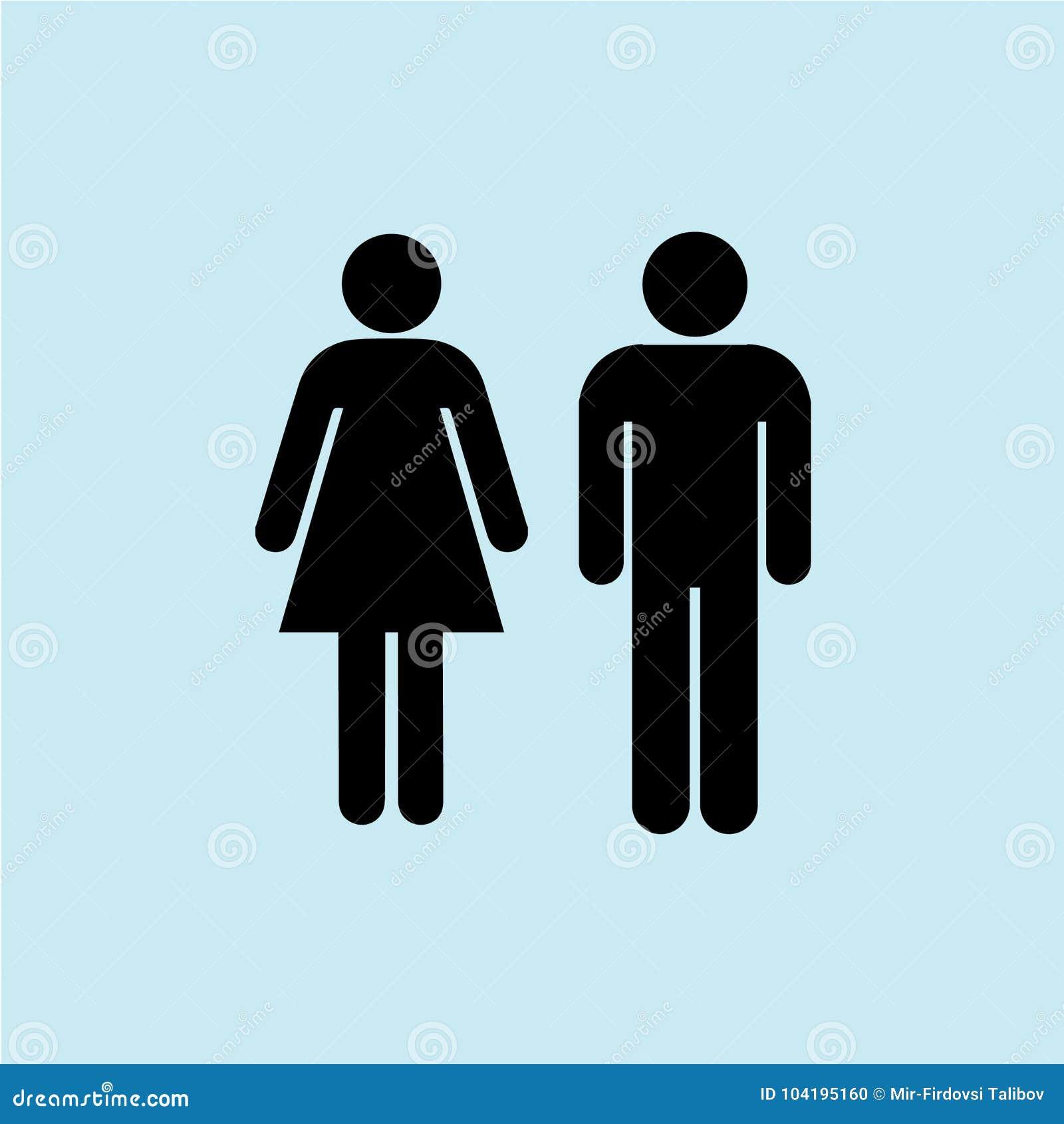 Mężczyzna i kobiety ikona z błękitnym tła czernią odizolowywającym, chłodno