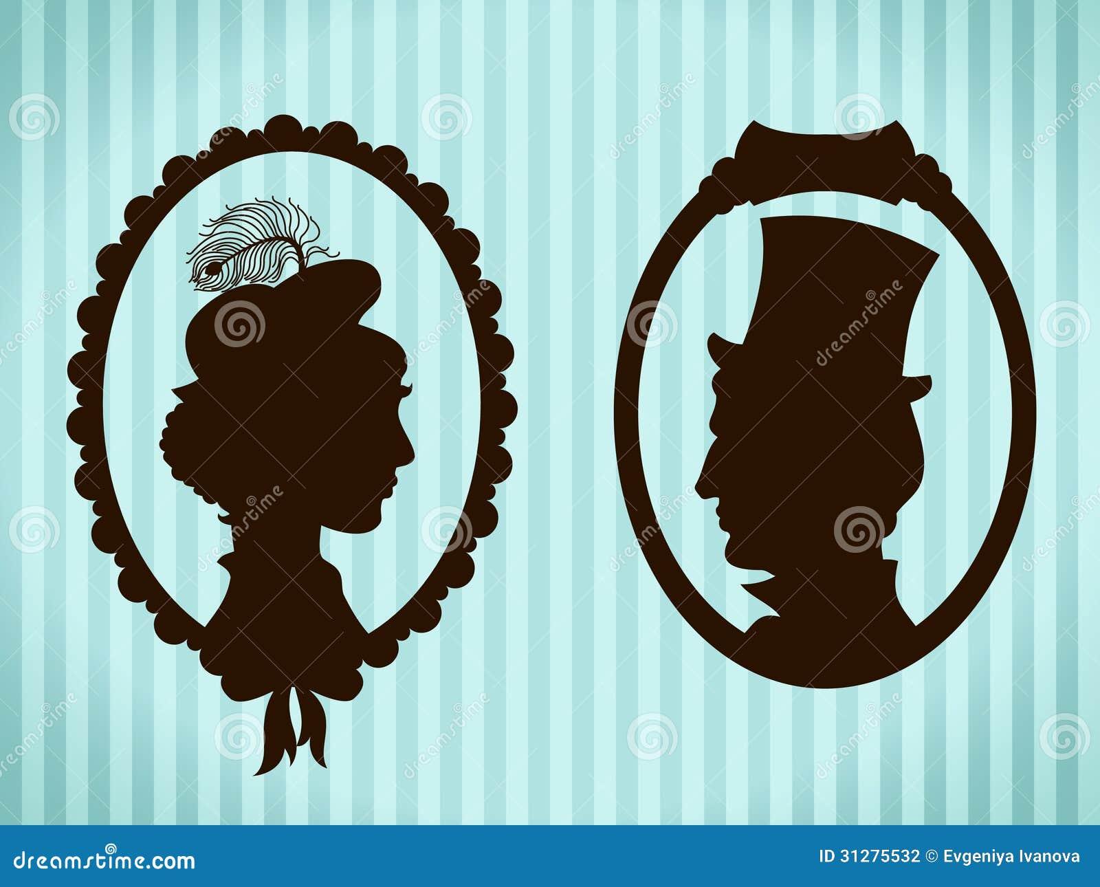 Mężczyzna i kobiety rocznika sylwetki