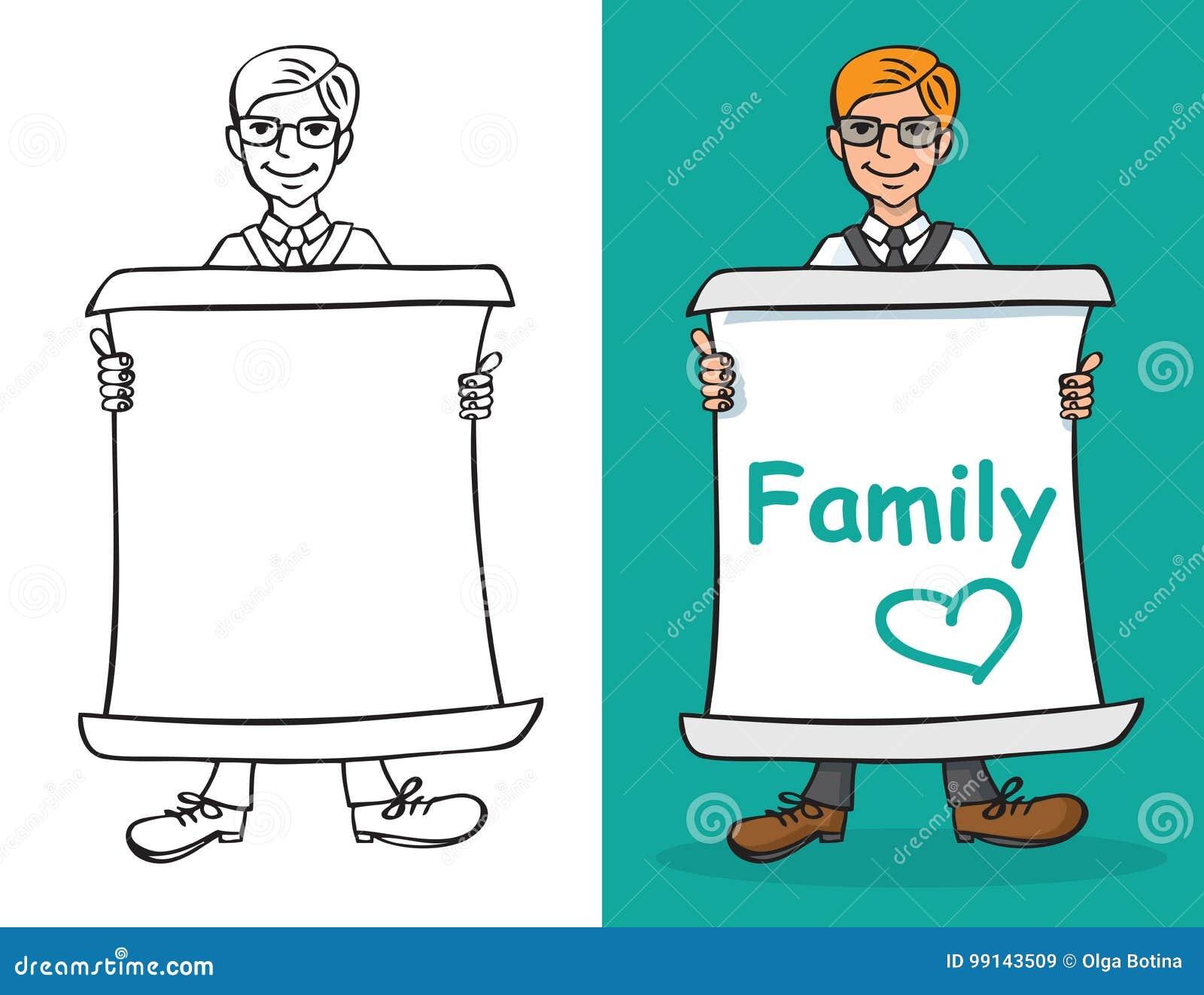 Mężczyzna i prześcieradła papier z wpisową rodziną