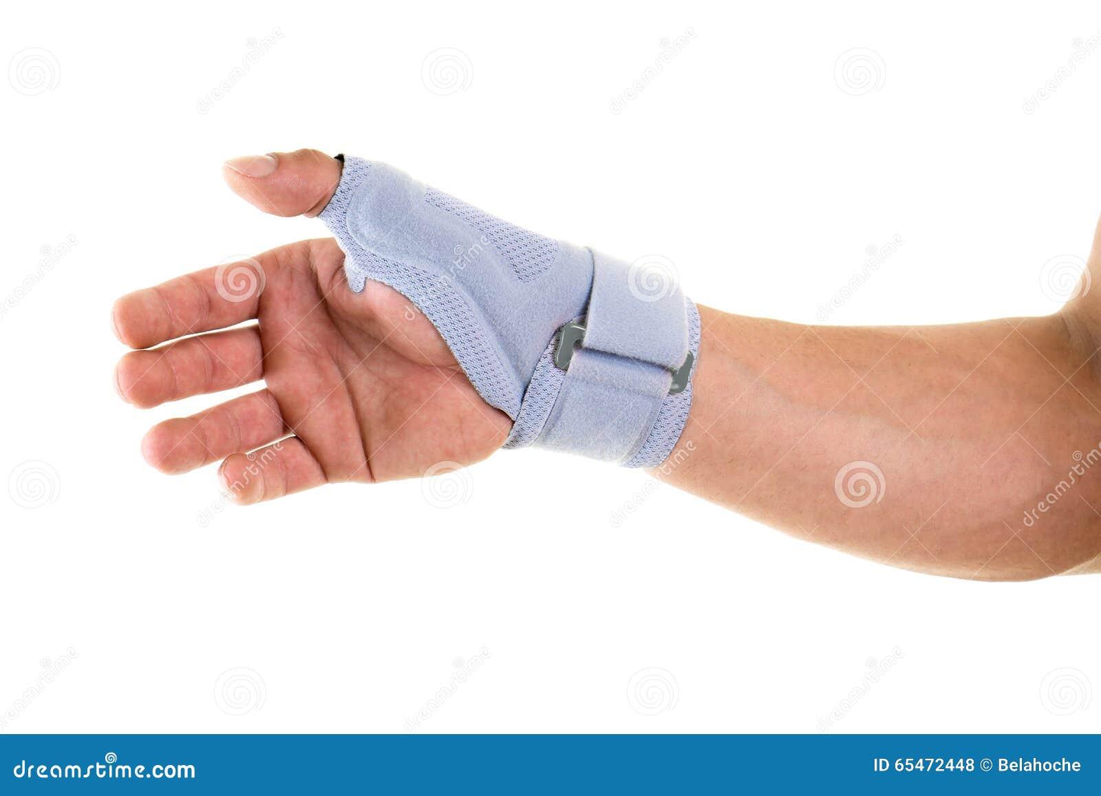 Mężczyzna Jest ubranym Wspierającego bras na nadgarstku i ręce