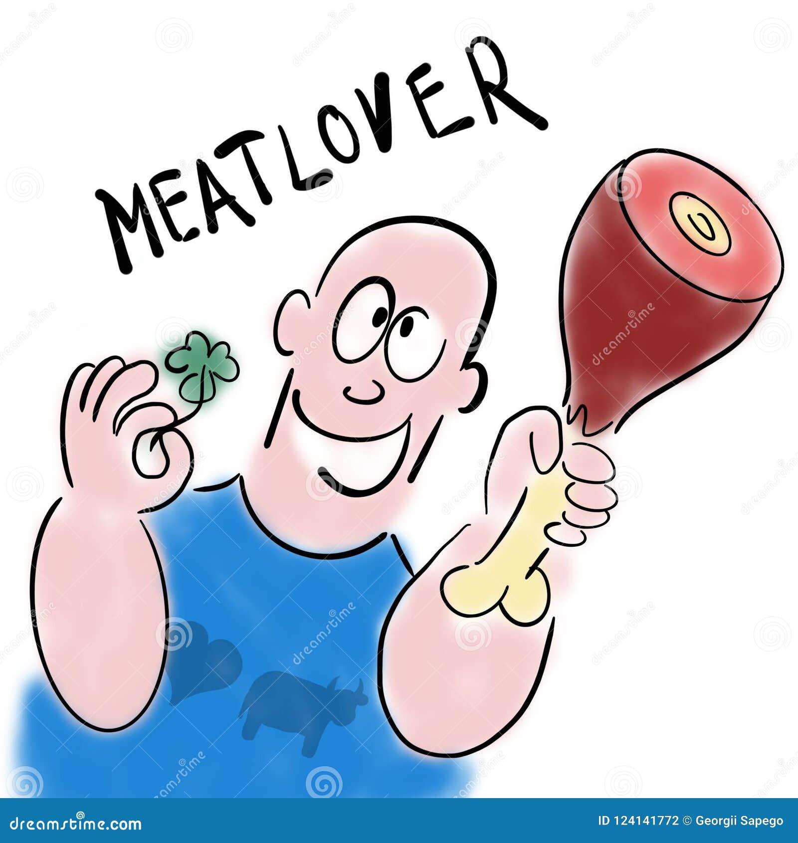 Mężczyzna kocha mięso