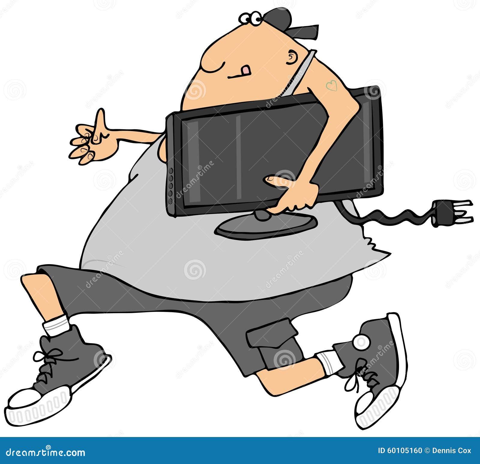 Mężczyzna kraść TV