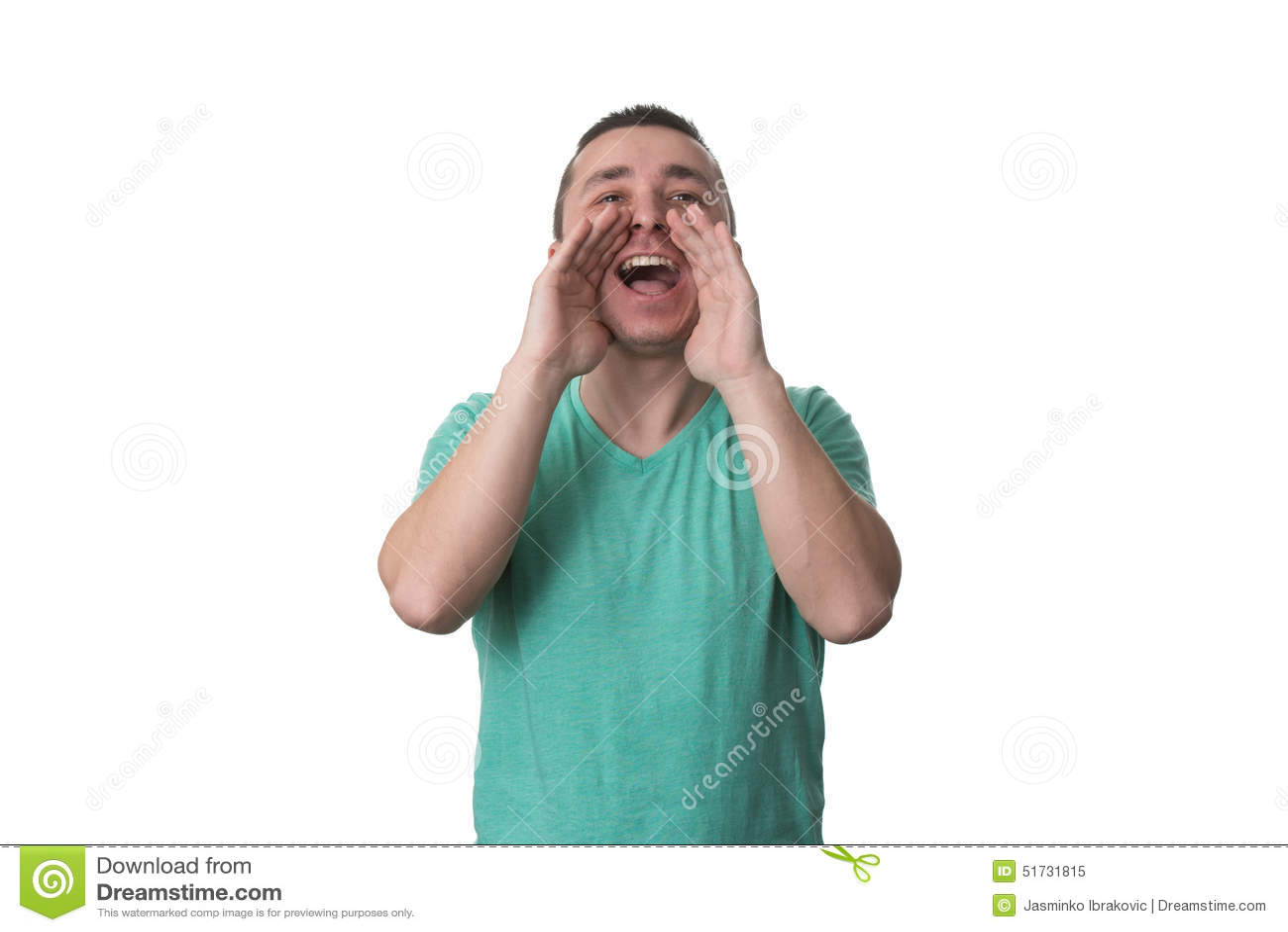 Mężczyzna Krzyczy Out Głośny Odosobnionego Na Białym tle