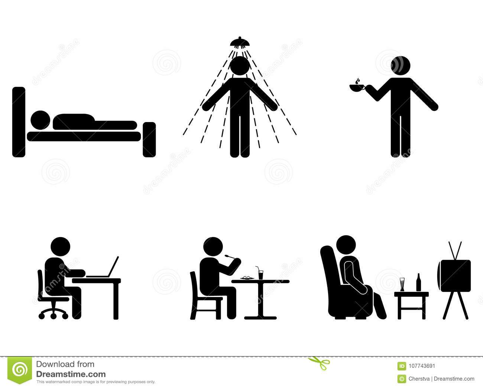 Mężczyzna ludzie każdy dzień akcja Postura kija postać Śpiący, jeść, pracuje, ikona symbolu znaka piktogram