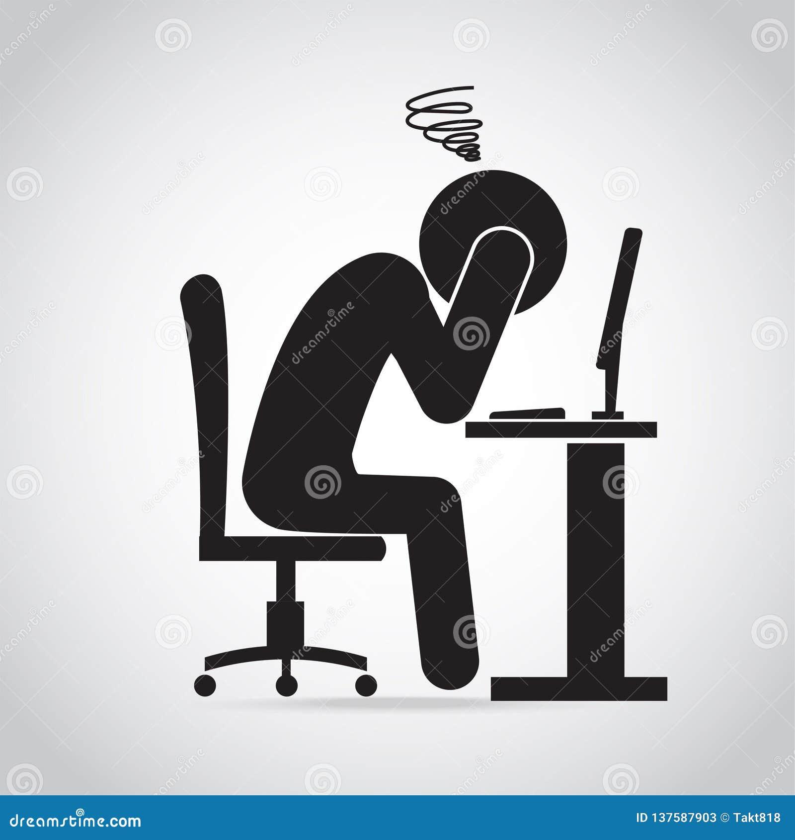 Mężczyzna migreny bólu ikona Mężczyzna niespokojny z pracy ikoną Biurowa syndrom ikona
