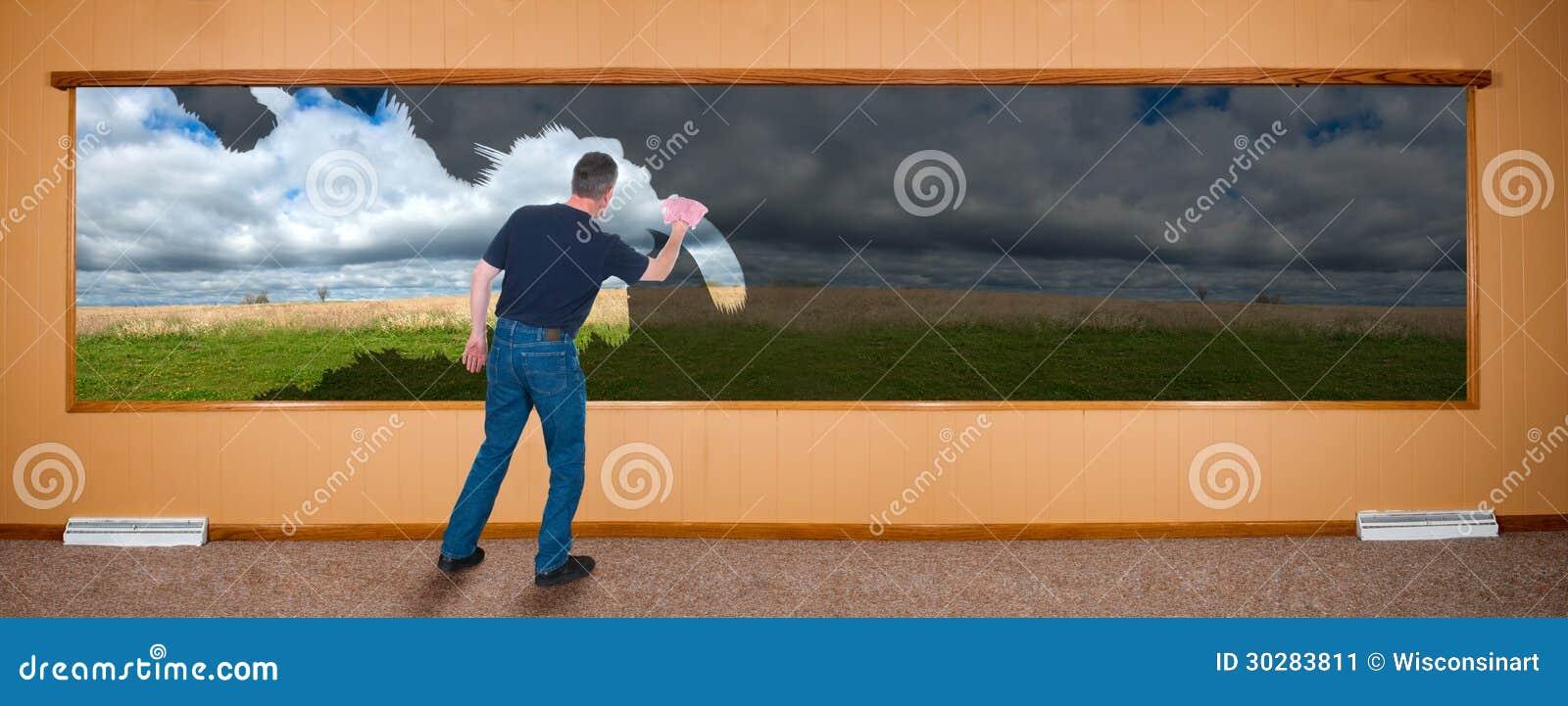 Wiosny Cleaning sztandar, mężczyzna Myje Windows