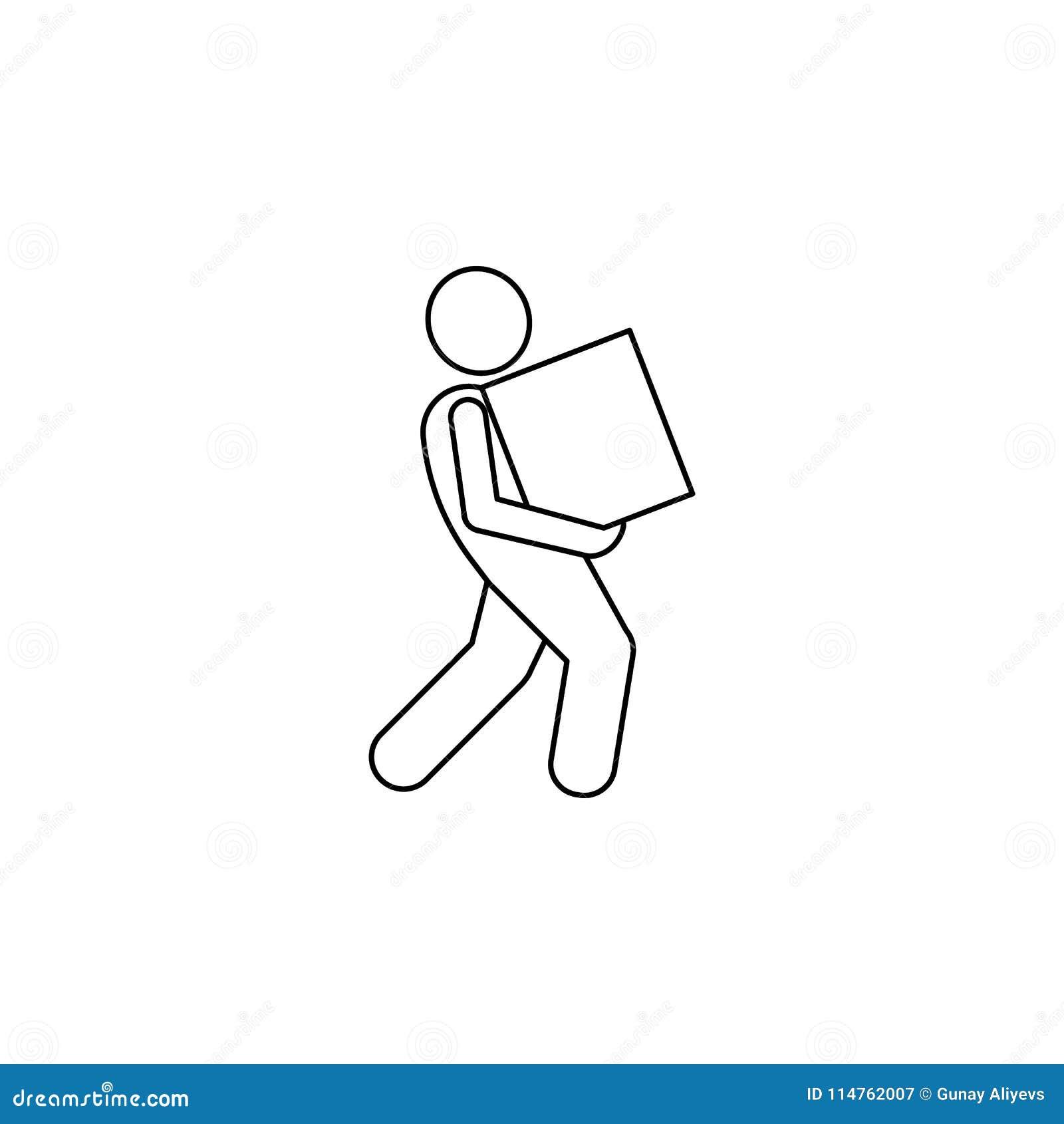 Mężczyzna należnie niesie pudełkowatą ikonę Element mężczyzna niesie pudełkowatą ilustrację Premii ilości graficznego projekta ik