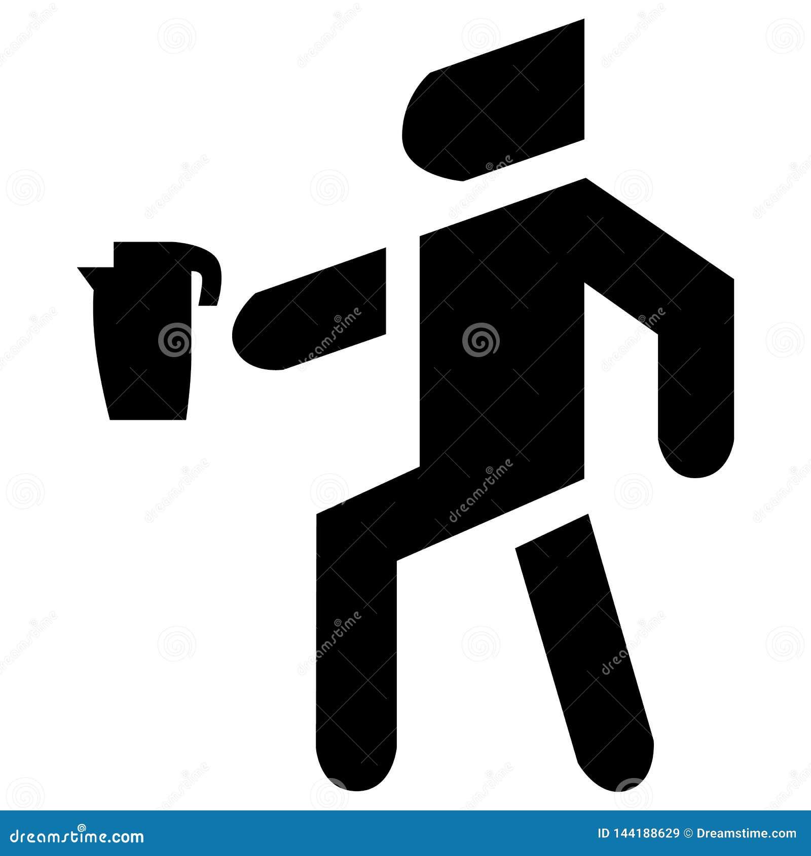 Mężczyzna niesie czajnik ikony wektor Urządzenie który gotuje się wodę dla herbaty