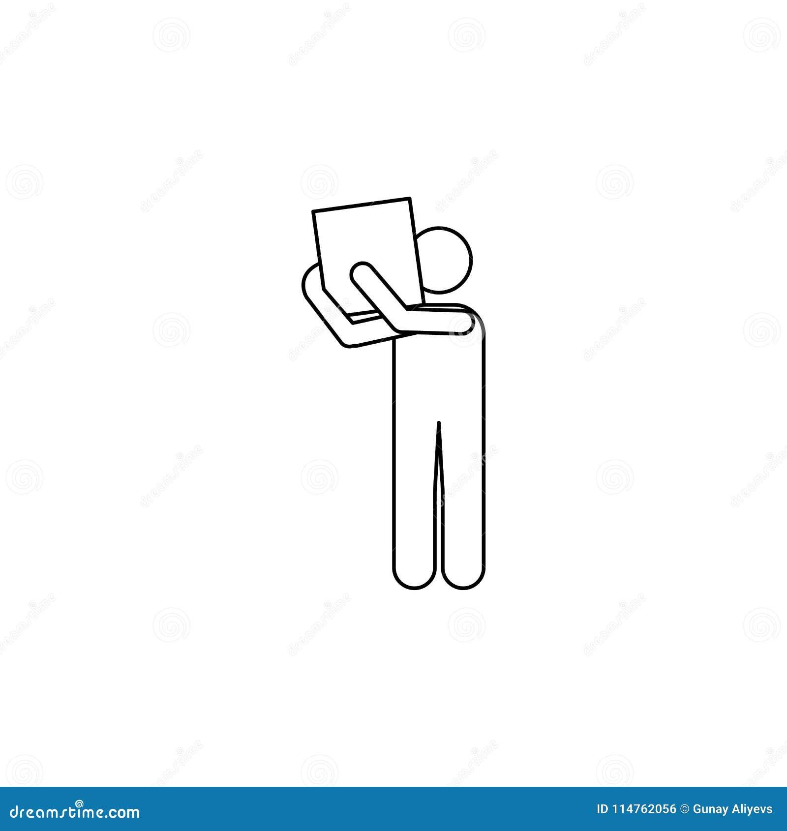 Mężczyzna niesie pudełko na jego naramiennej ikonie Element mężczyzna niesie pudełkowatą ilustrację Premii ilości graficznego pro