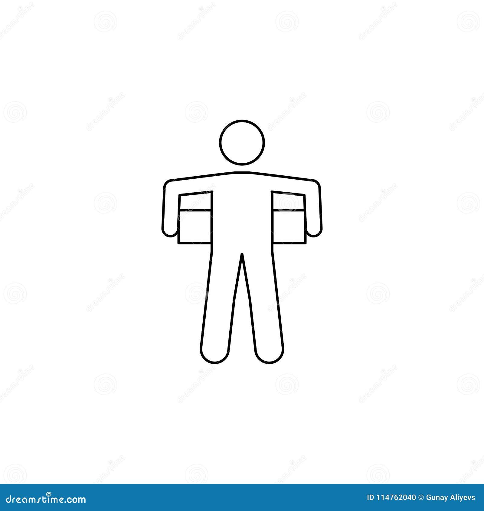 Mężczyzna niesie pudełko za on ikona Element mężczyzna niesie pudełkowatą ilustrację Premii ilości graficznego projekta ikona Zna