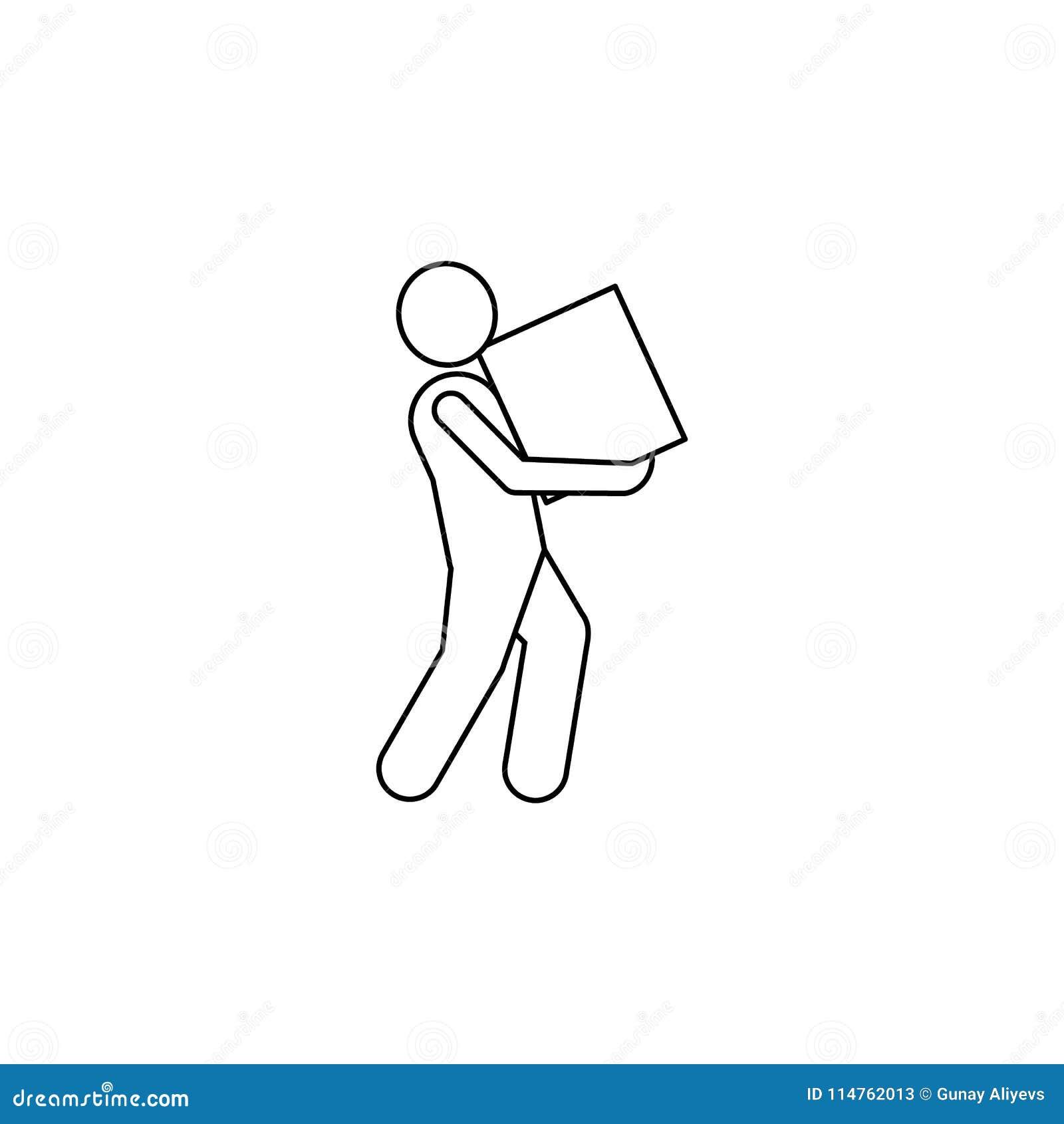 Mężczyzna niesie pudełkowatą ikonę Element mężczyzna niesie pudełkowatą ilustrację Premii ilości graficznego projekta ikona Znaki