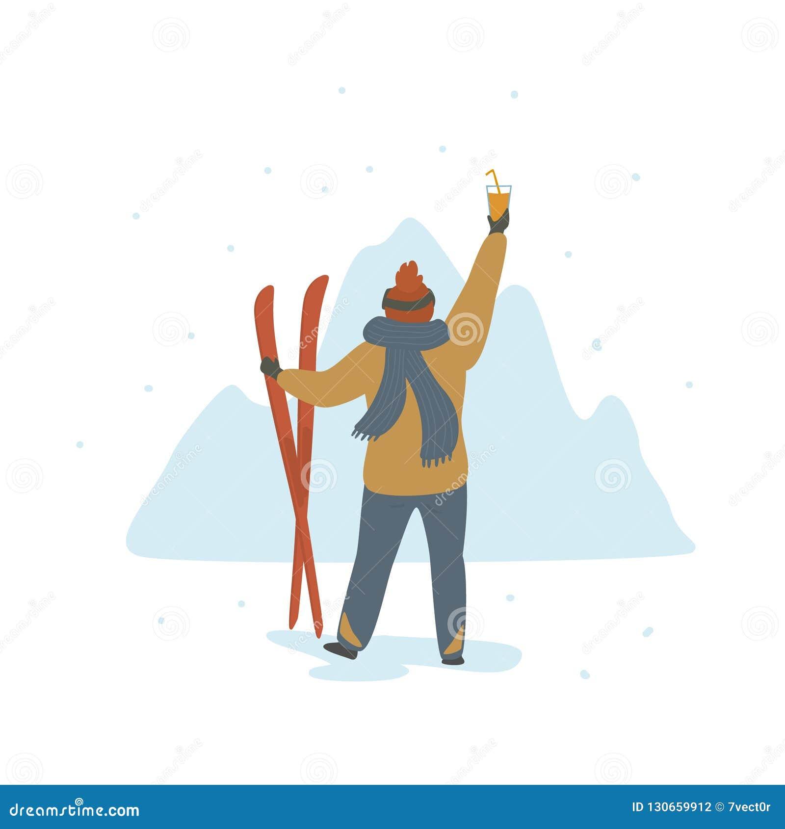 Mężczyzna odświętności zimy wakacje w ośrodku narciarskim popierają widok