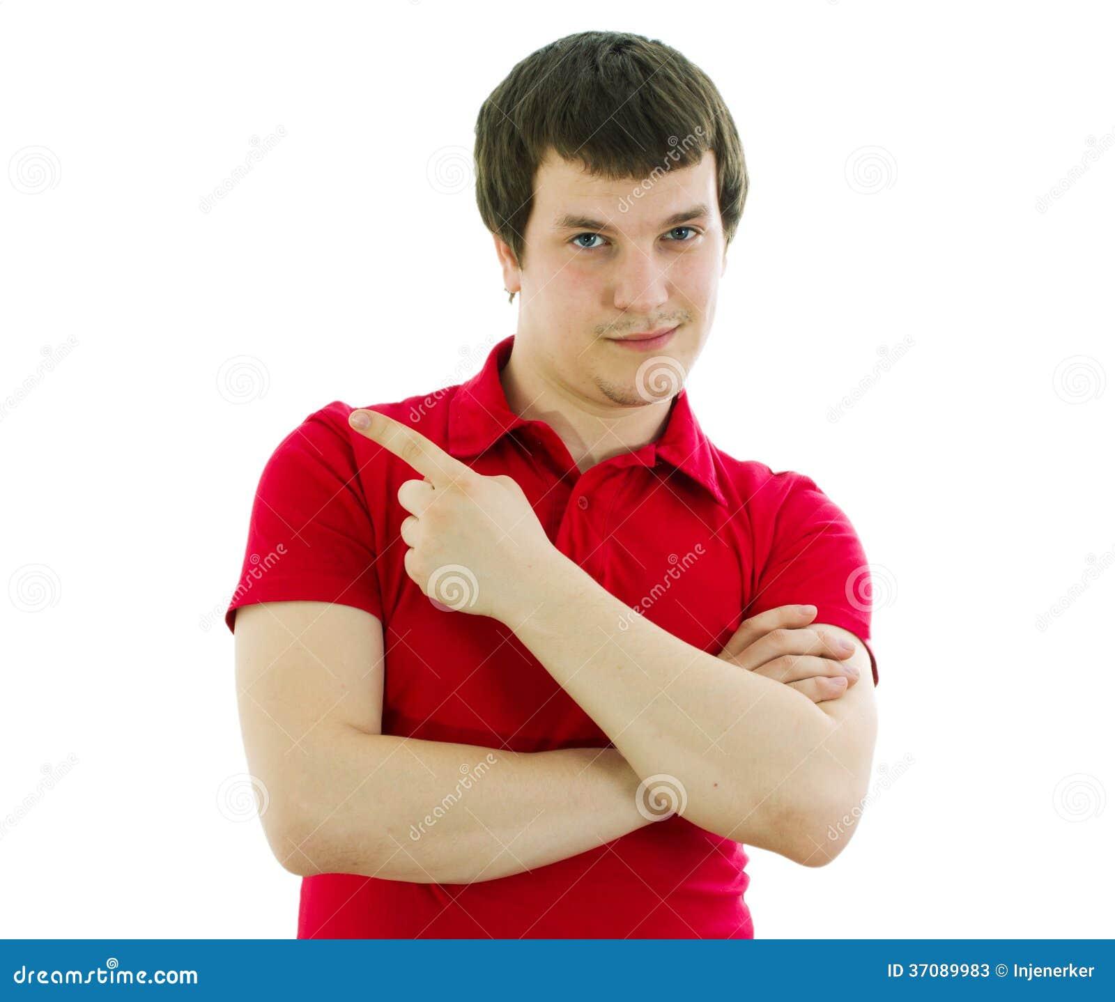 Download Mężczyzna Pokazuje Jego Rękę Strona Obraz Stock - Obraz złożonej z twarz, moda: 37089983