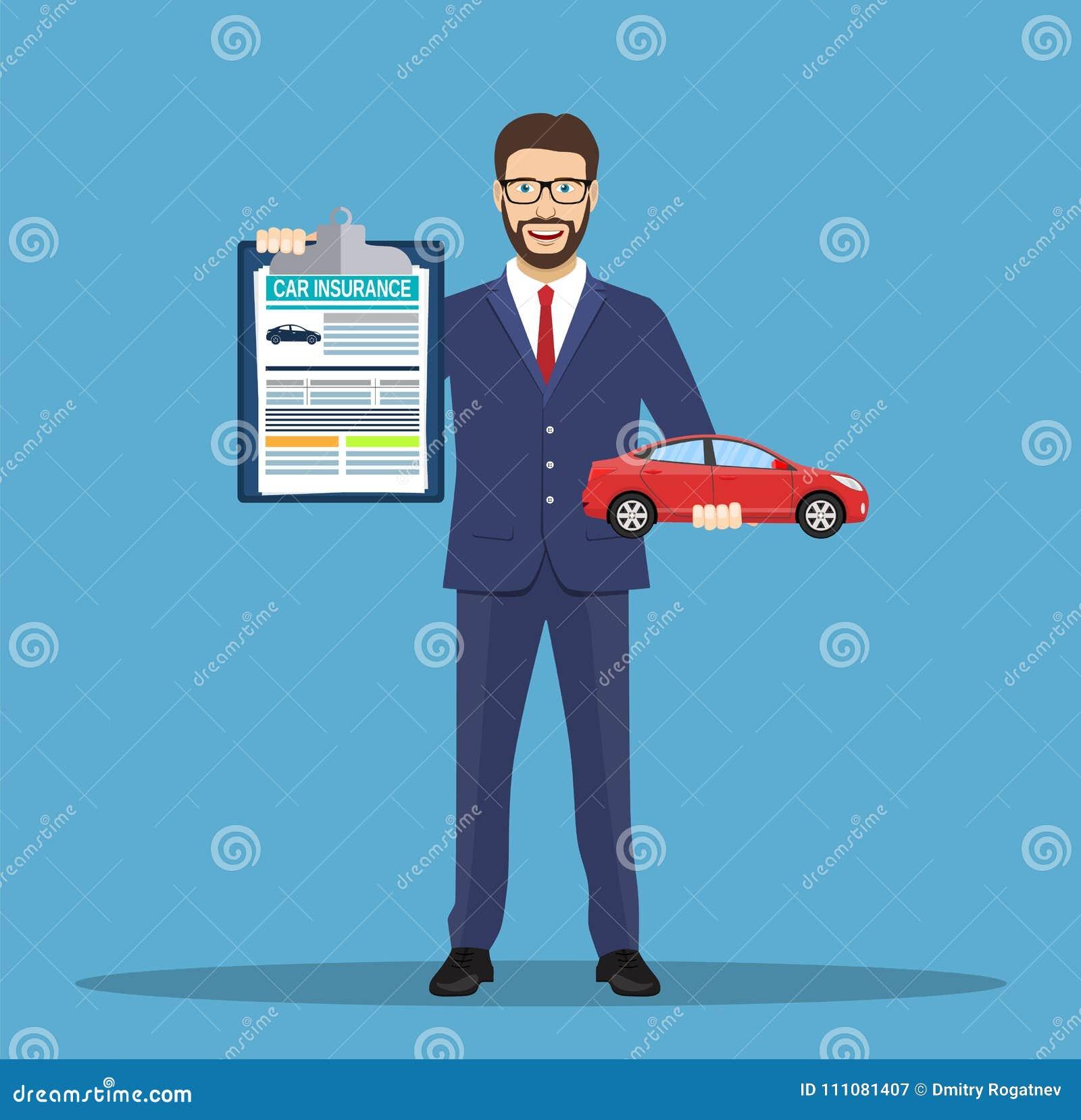 Mężczyzna pokazuje ubezpieczenie samochodu