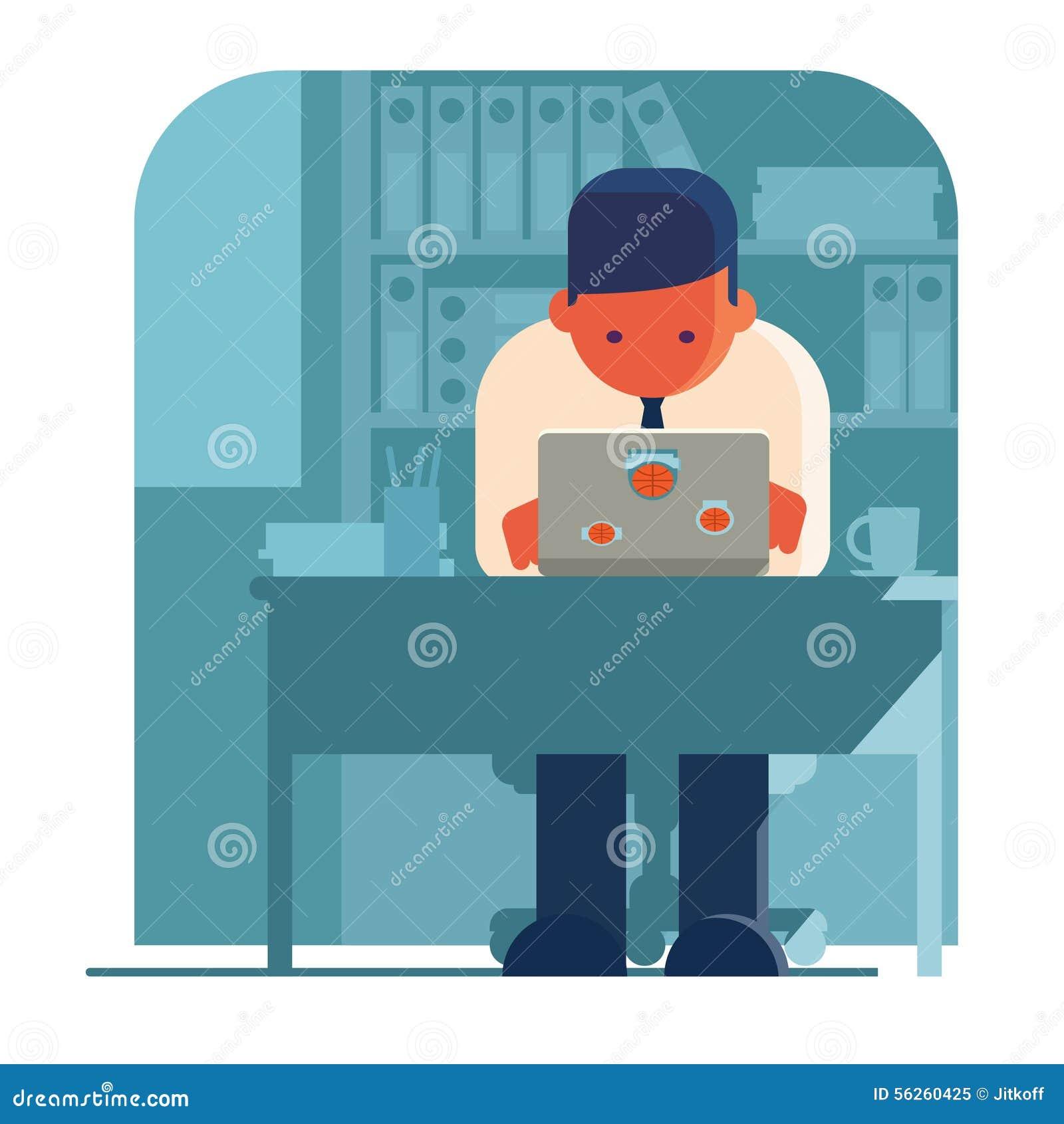 Mężczyzna pracuje na jego swój laptopie