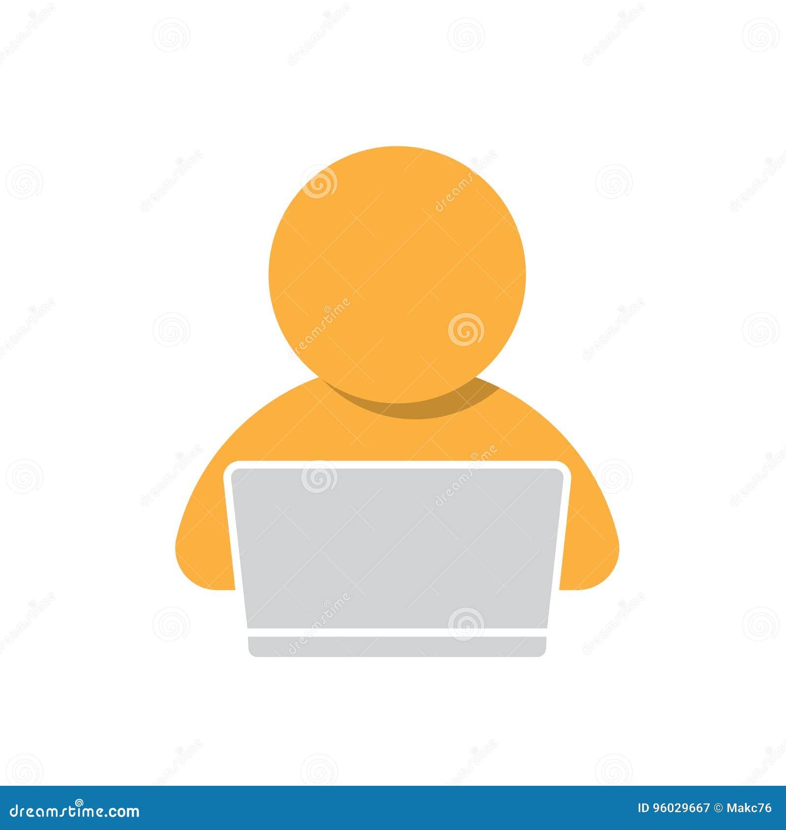 Mężczyzna pracuje na komputerowej ikonie