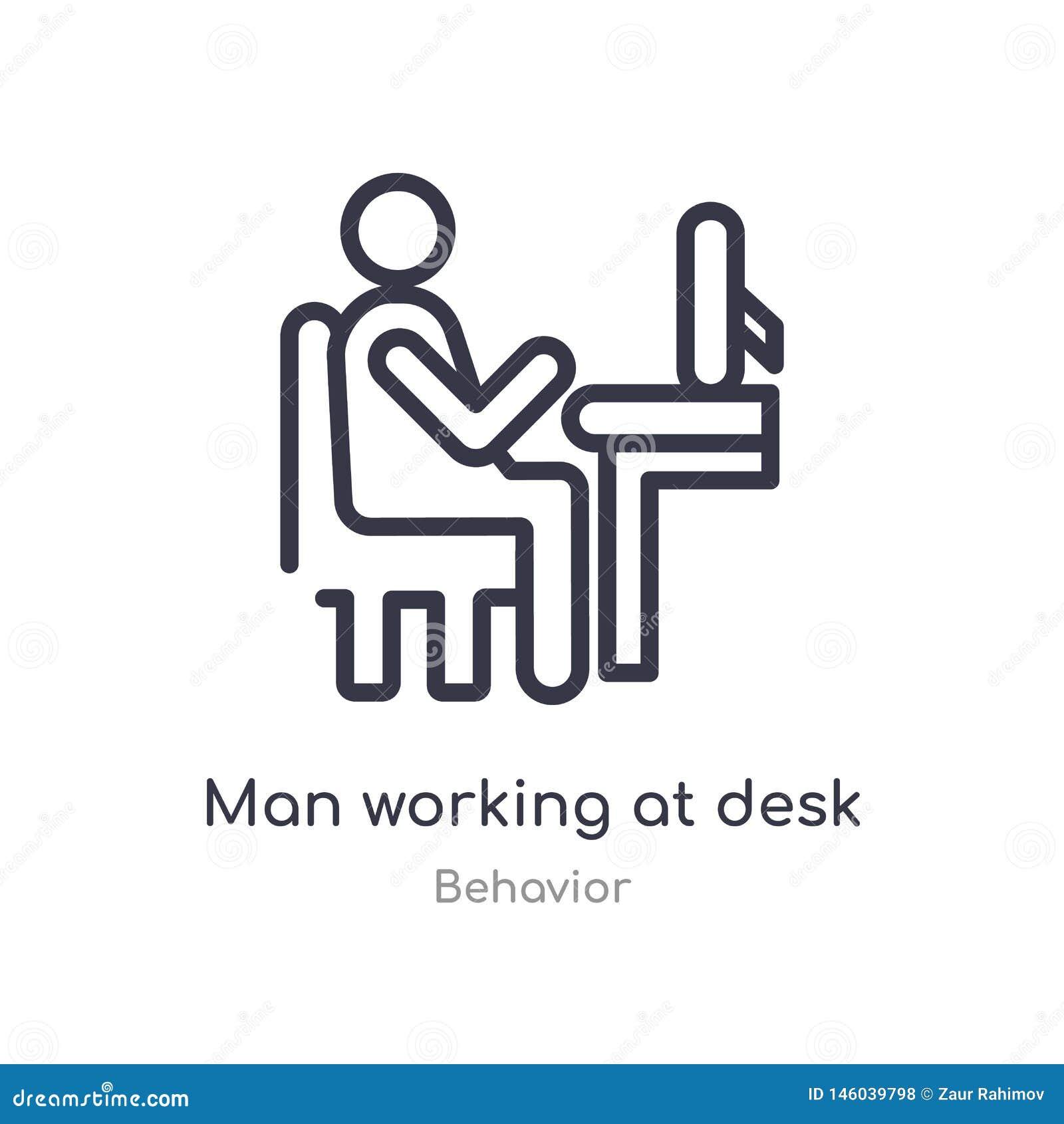 Mężczyzna pracuje przy biurko konturu ikoną odosobniona kreskowa wektorowa ilustracja od zachowanie kolekcji editable cienki uder