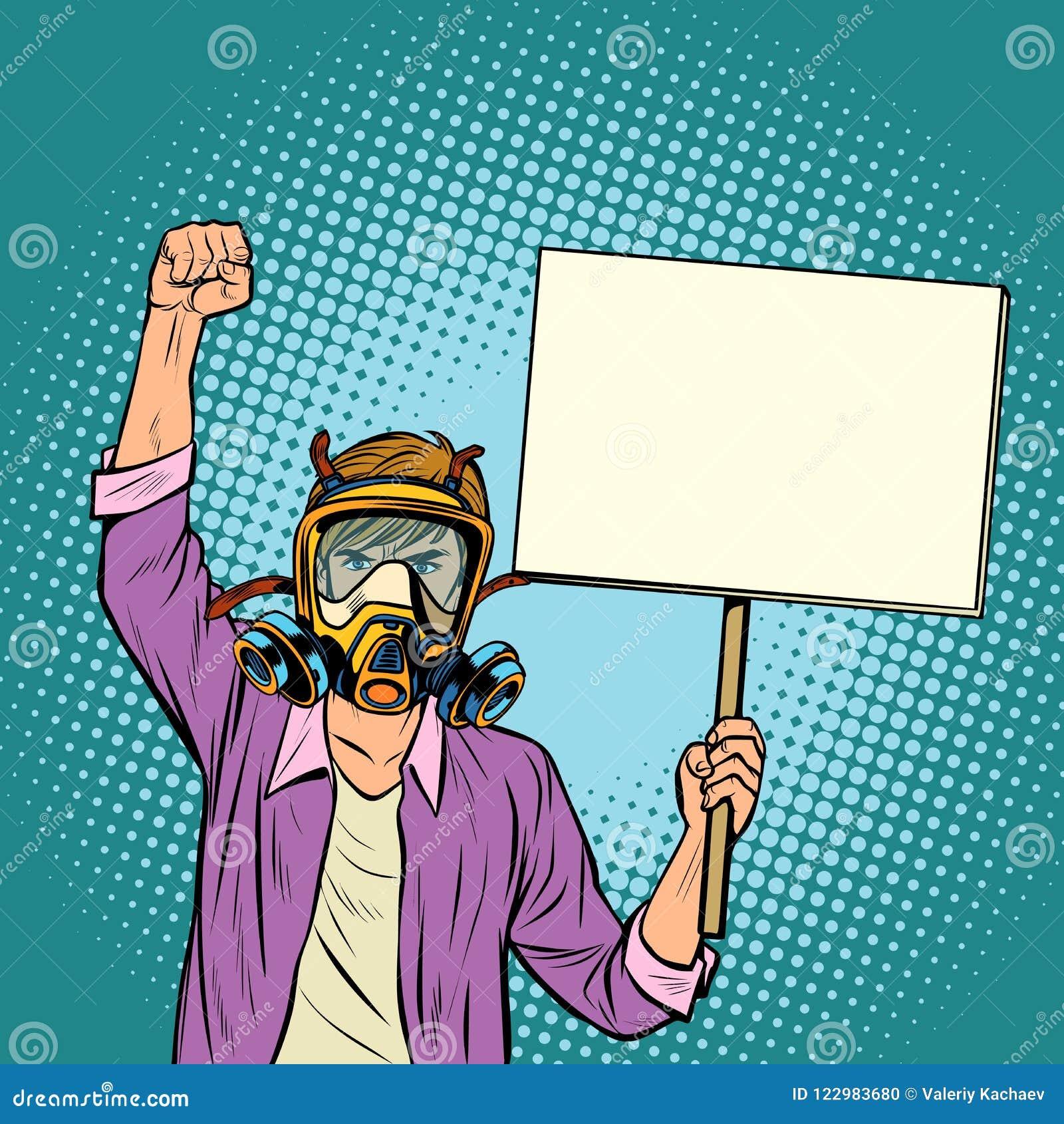 Mężczyzna protestuje przeciw zanieczyszczającemu powietrzu w masce gazowej środowisko