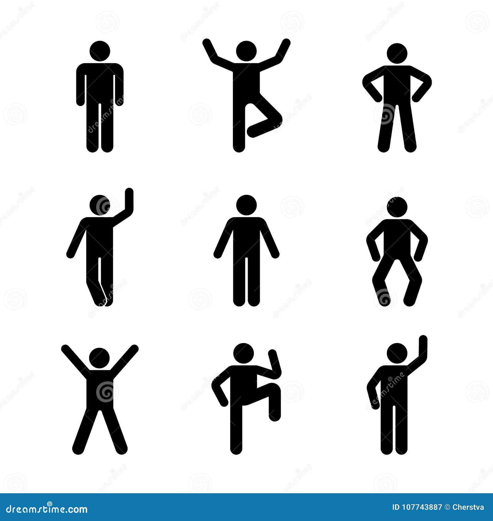 Mężczyzna różnorodnej trwanie pozyci ludzie Postura kija postać Wektorowa ilustracja pozować osoby ikony symbolu znaka piktogram