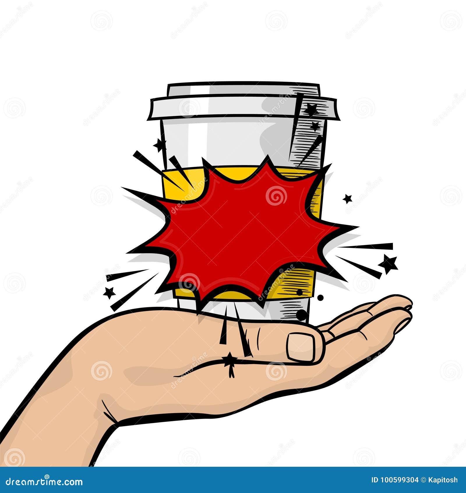 Mężczyzna ręki chwyta papieru gorący herbaciany kawowy kubek